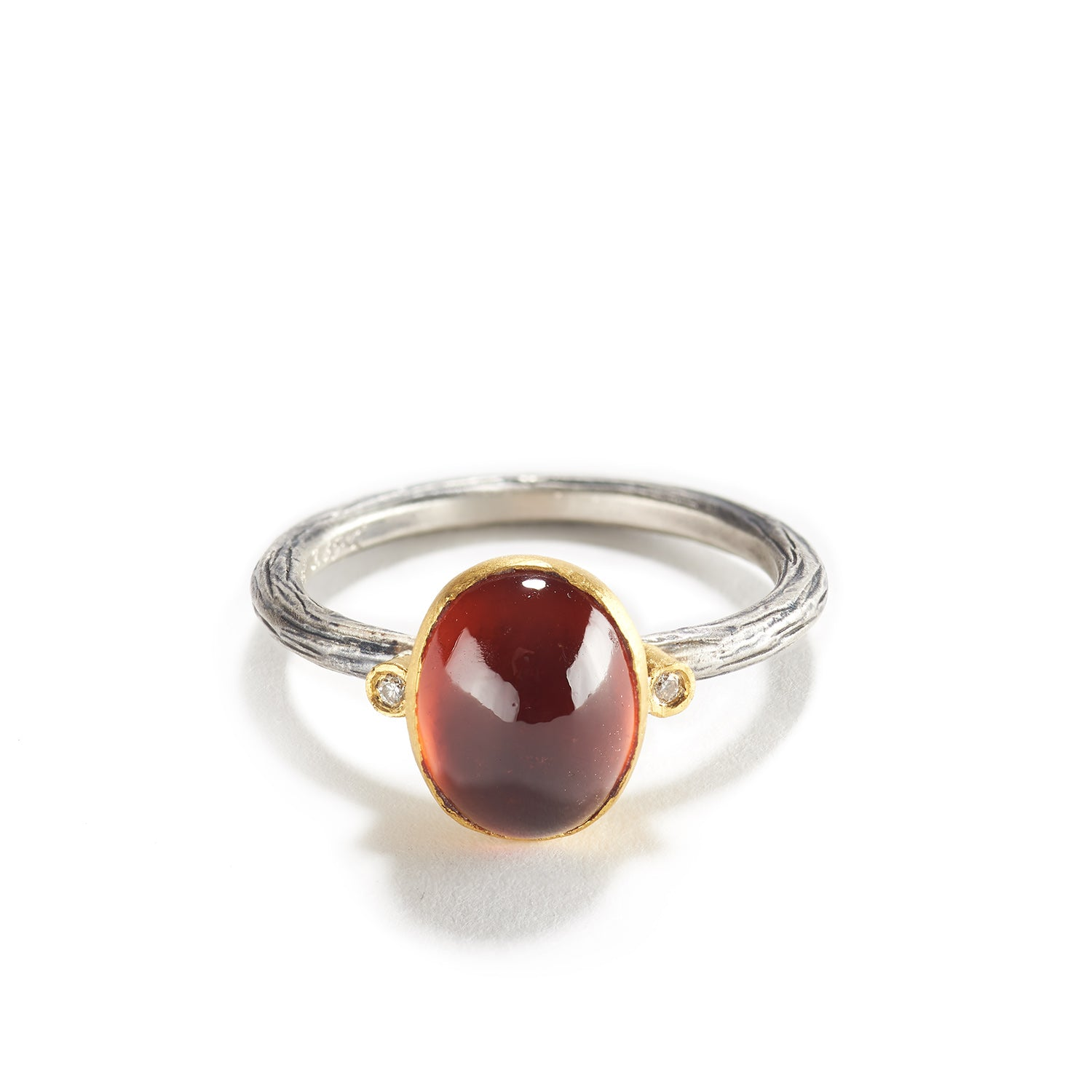 Garnet, Diamond and Silver Ring