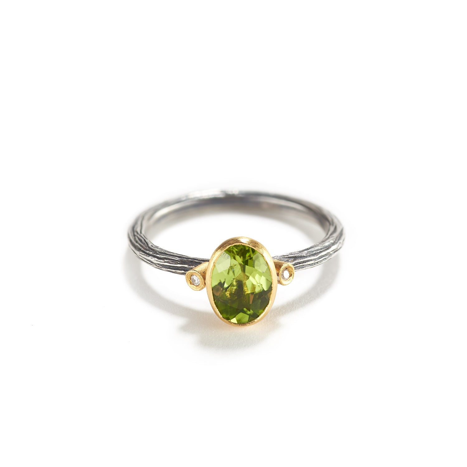 Peridot, Diamond and Silver Ring
