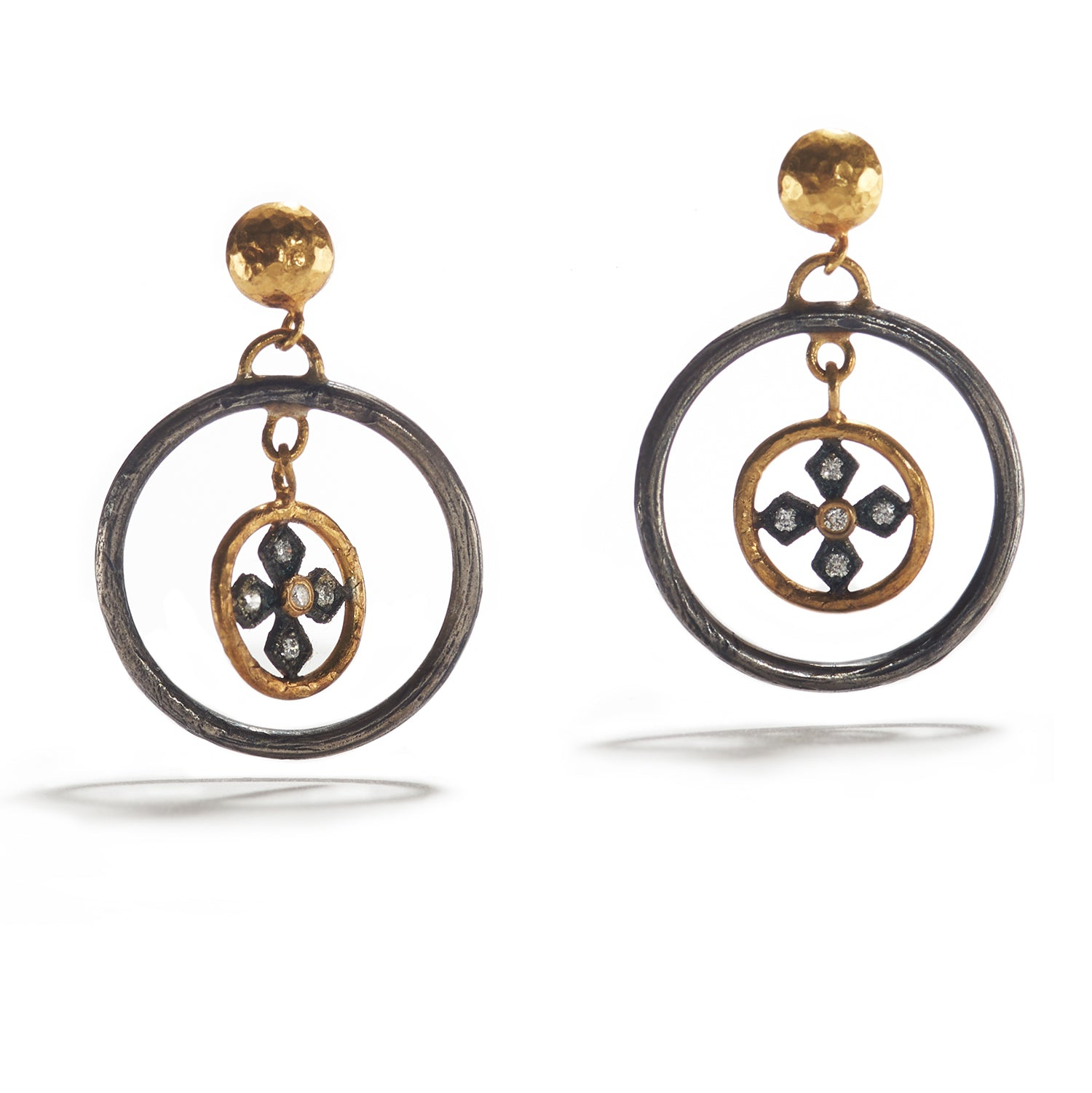 Double Ring of Gold and Silver Earrings