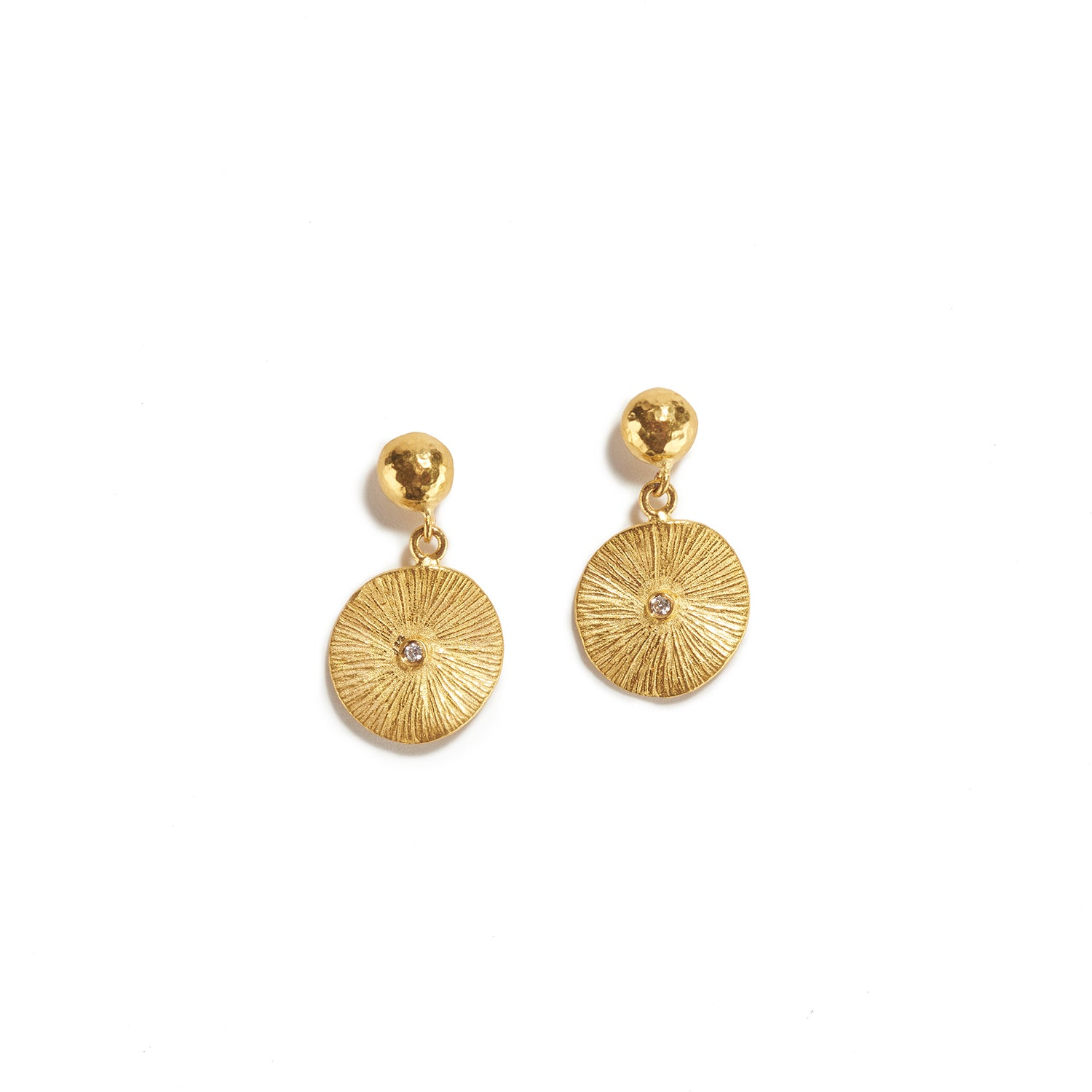 Round Gold Drops with Diamond Earrings
