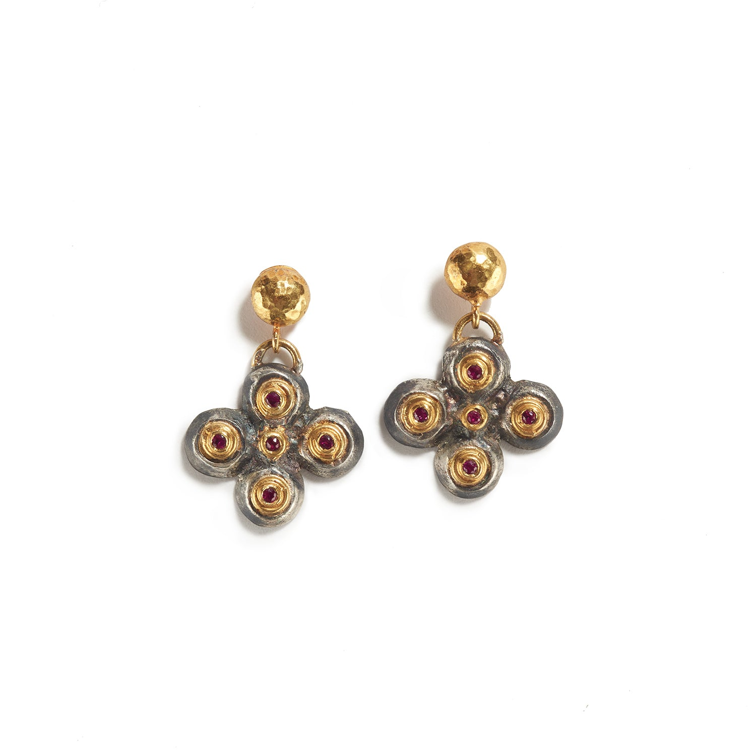 Gold & Silver Earrings with Ruby