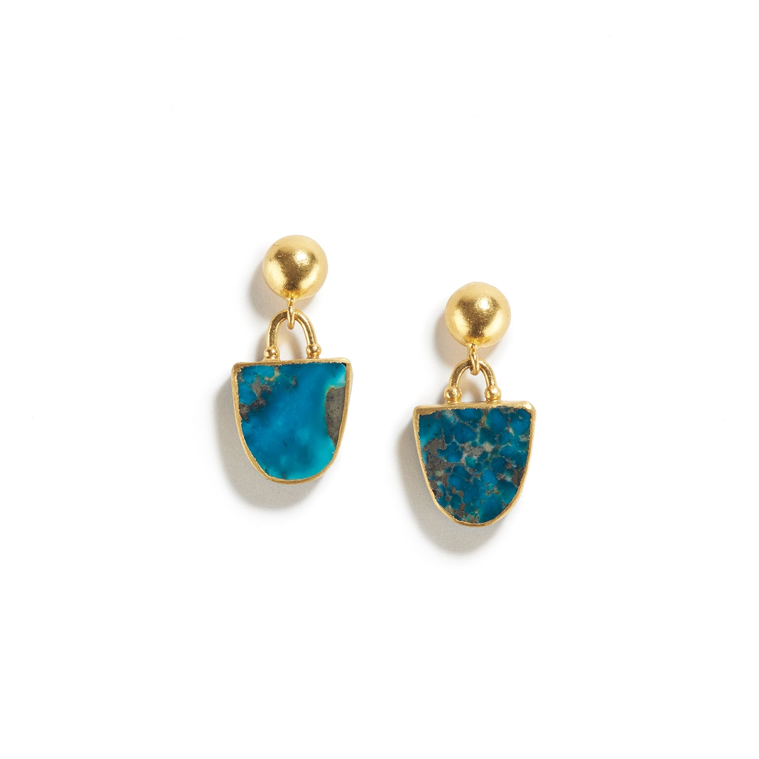 Turquoise Earrings with Gold and Silver