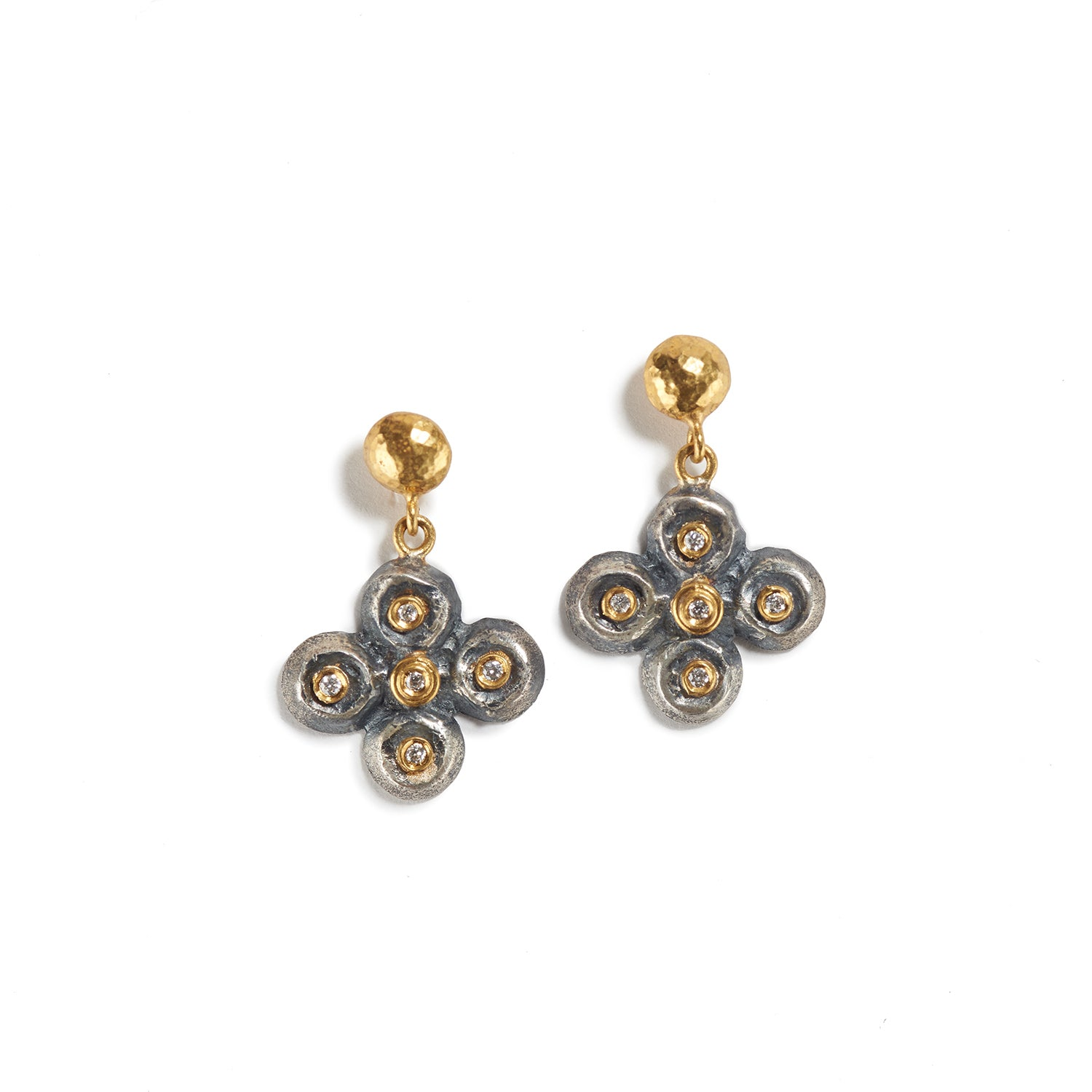Gold & Silver Earrings with Diamond