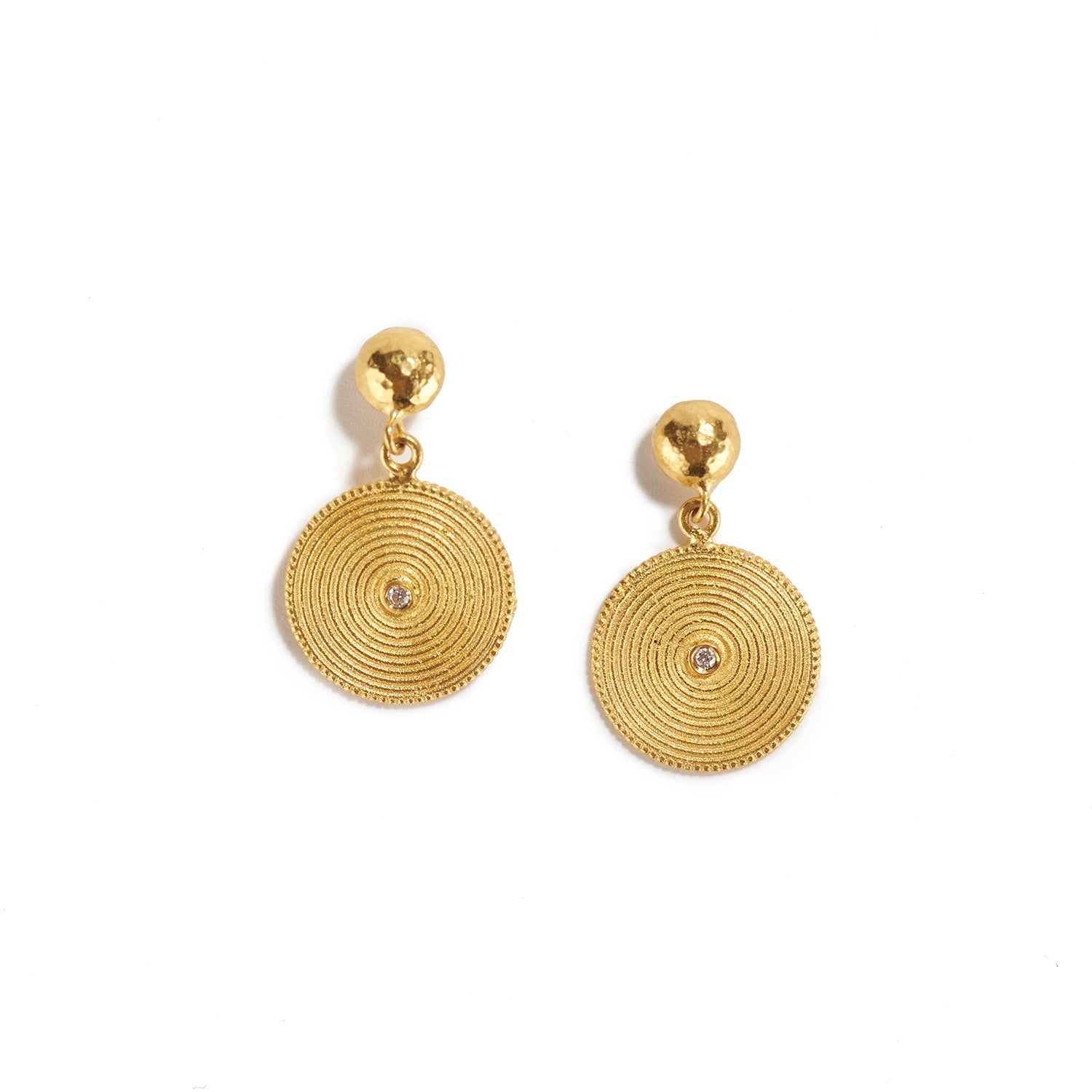 Textured Golden Disk Earrings