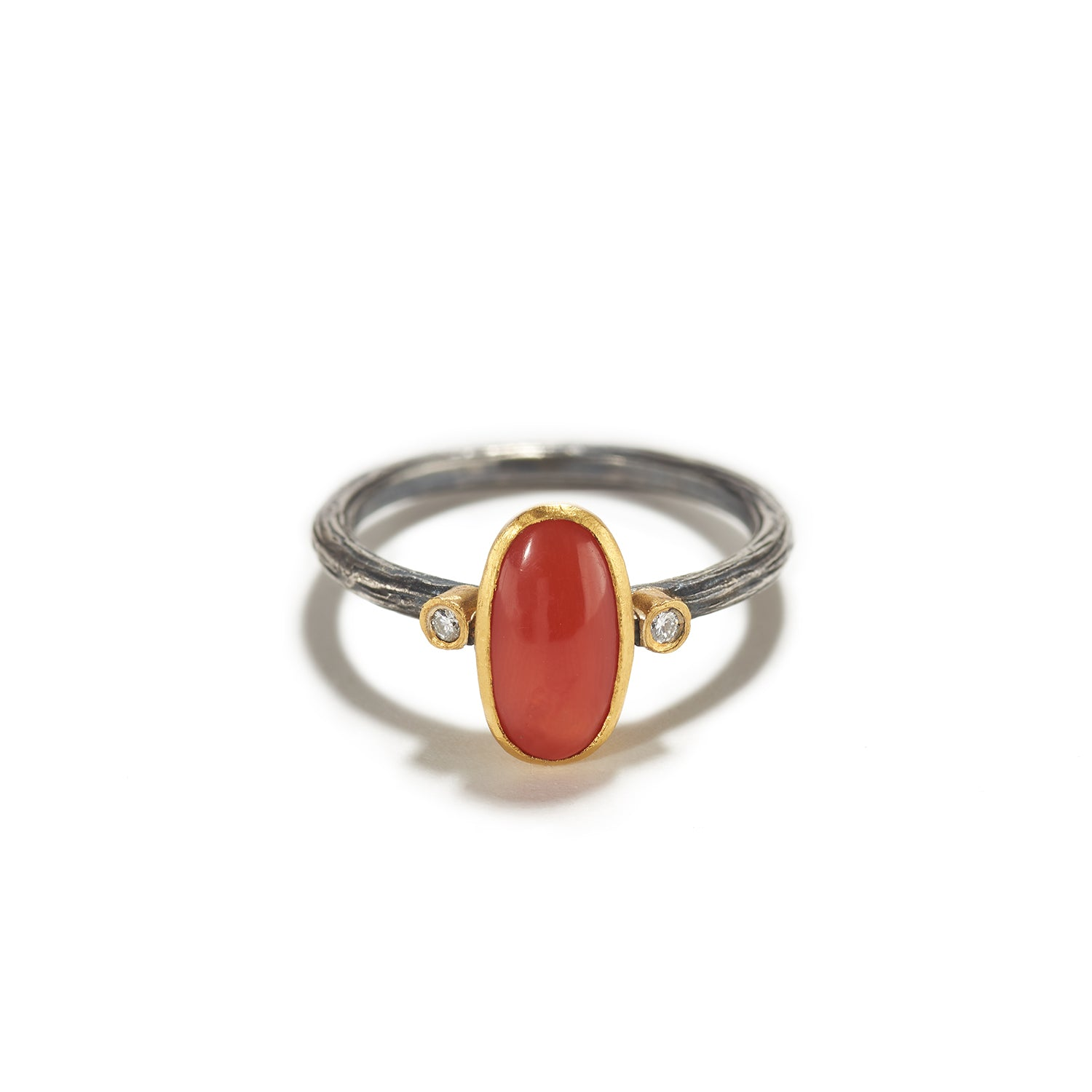 Coral Ring with Diamond & Silver