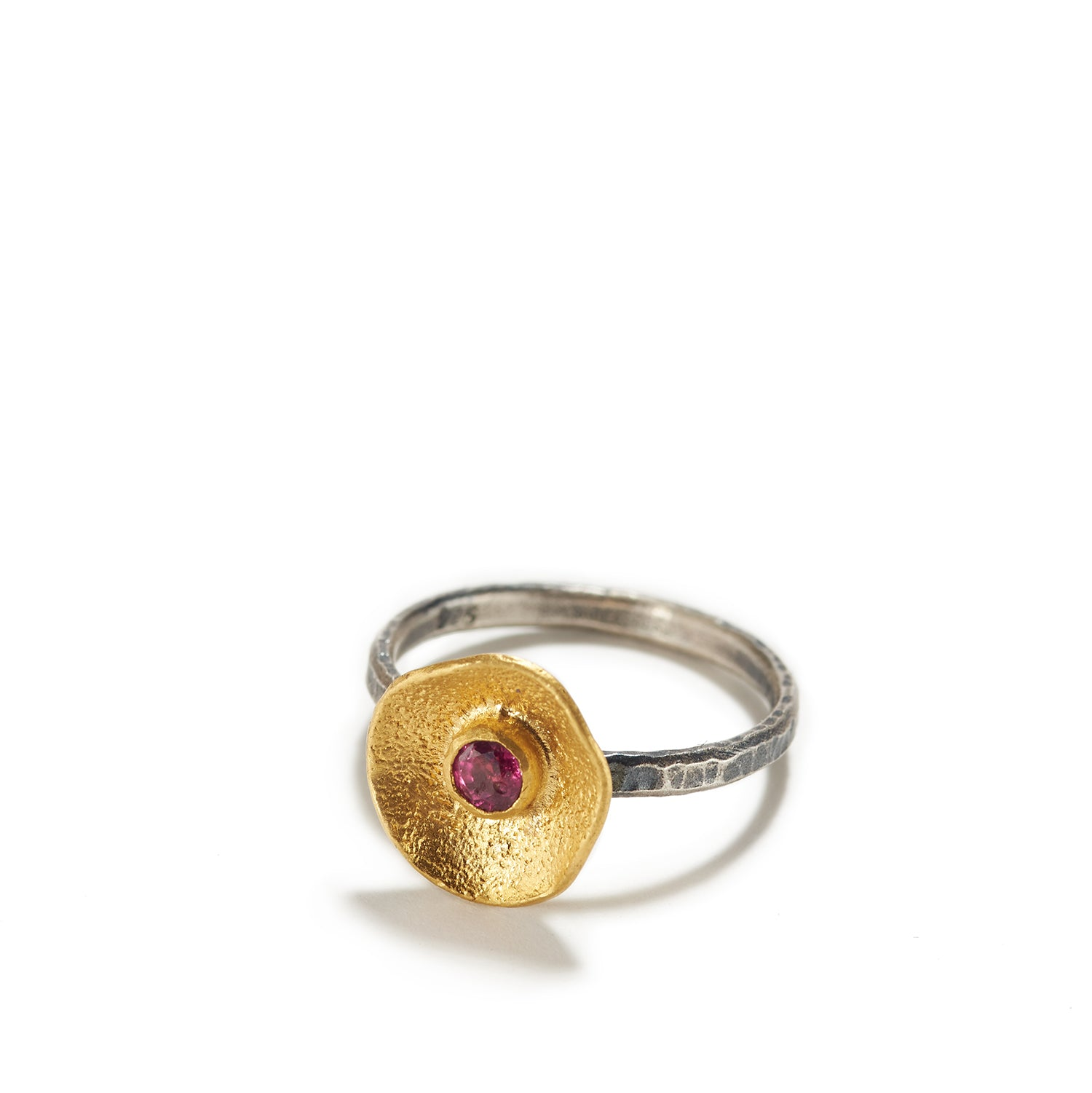 Undulant Golden Cup with Ruby Ring