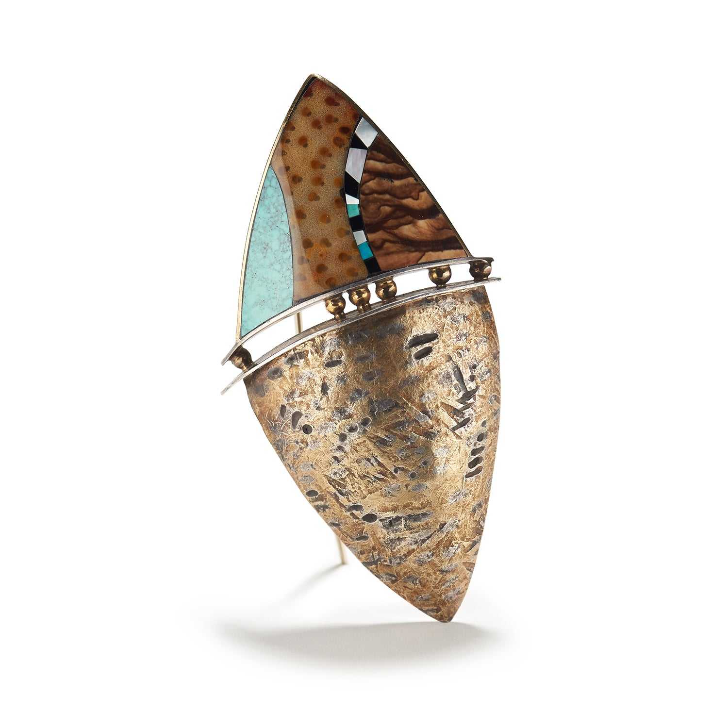 Inlaid Jasper, Palm Wood and Turquoise Brooch