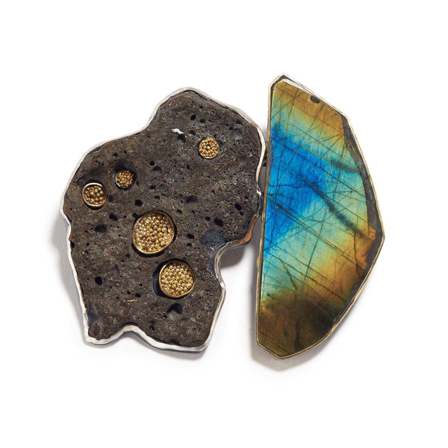 Lava and Spectrolite Brooch