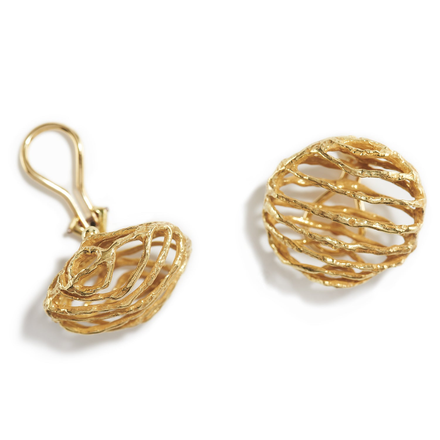 Small Basket Clip Earrings