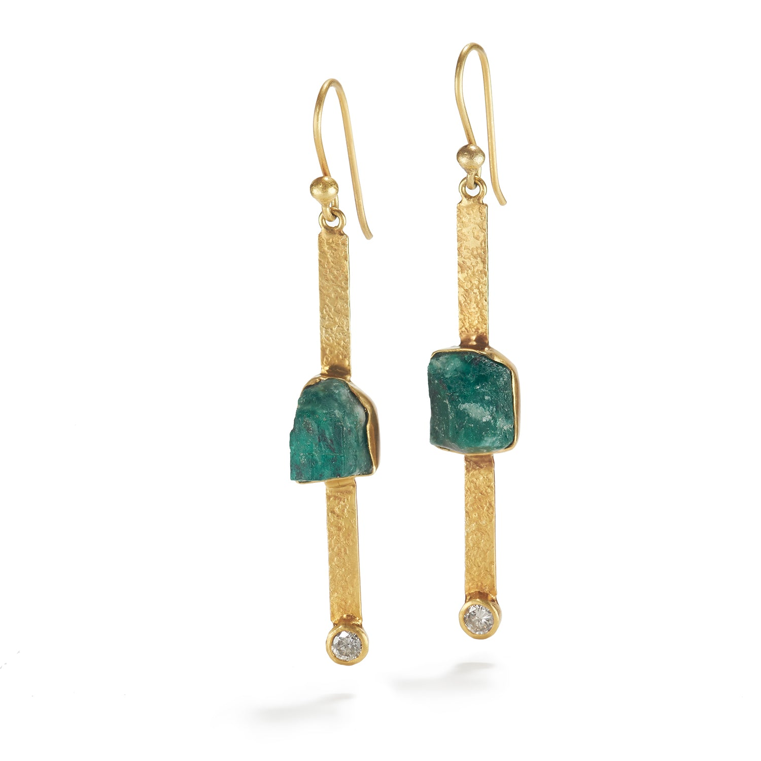 Rough Emerald & Diamond Earrings