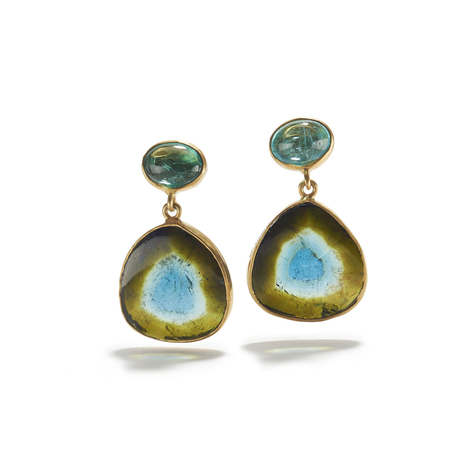 Blue/Green Watermelon Tourmaline Earrings