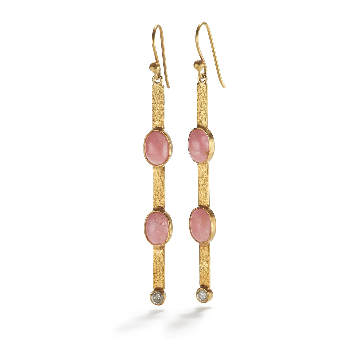 Rhodochrosite Earrings with Diamond