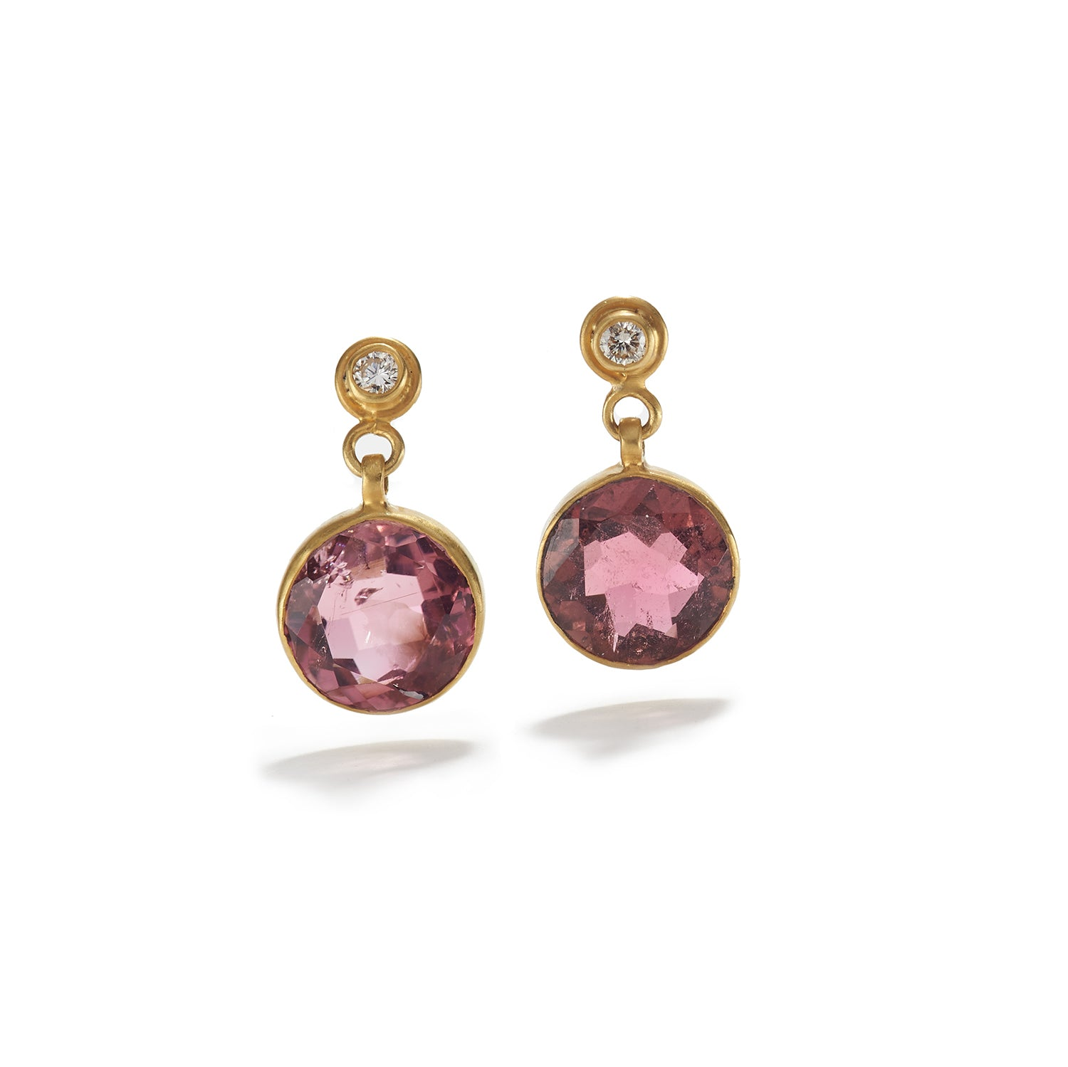 Pink Tourmaline Earrings with Diamond
