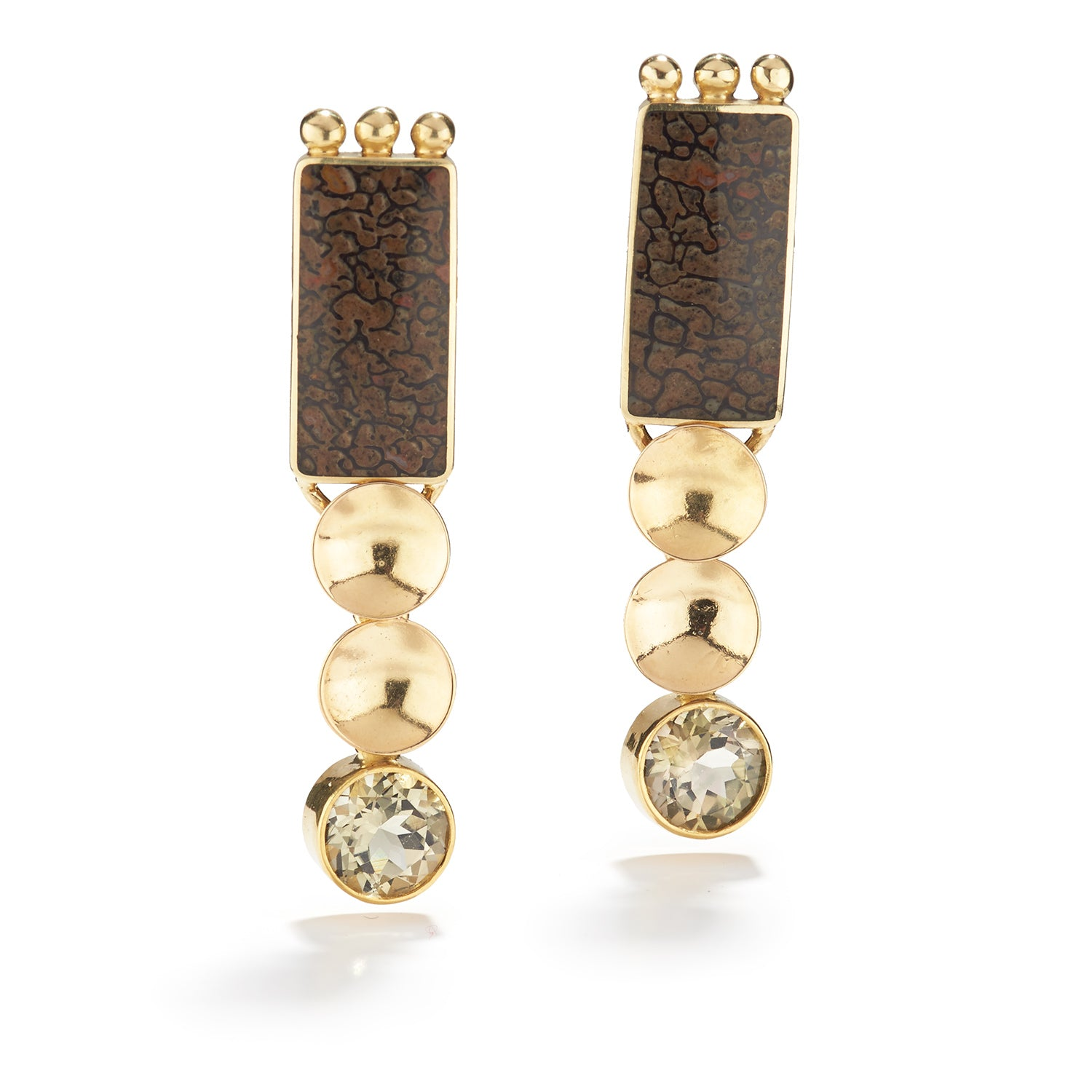 Andalusite & Dinosaur Bone Earrings