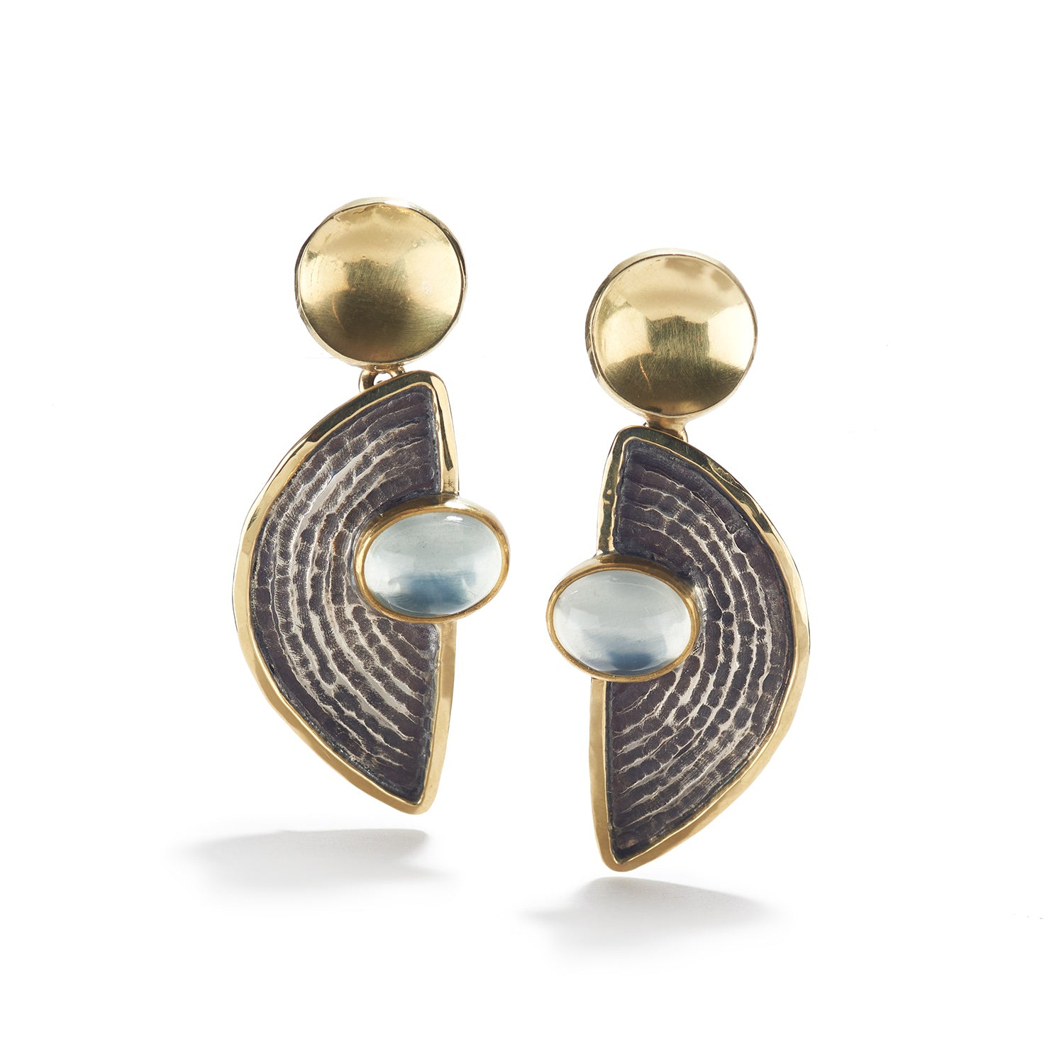 Silver, Gold and Moonstone Earrings