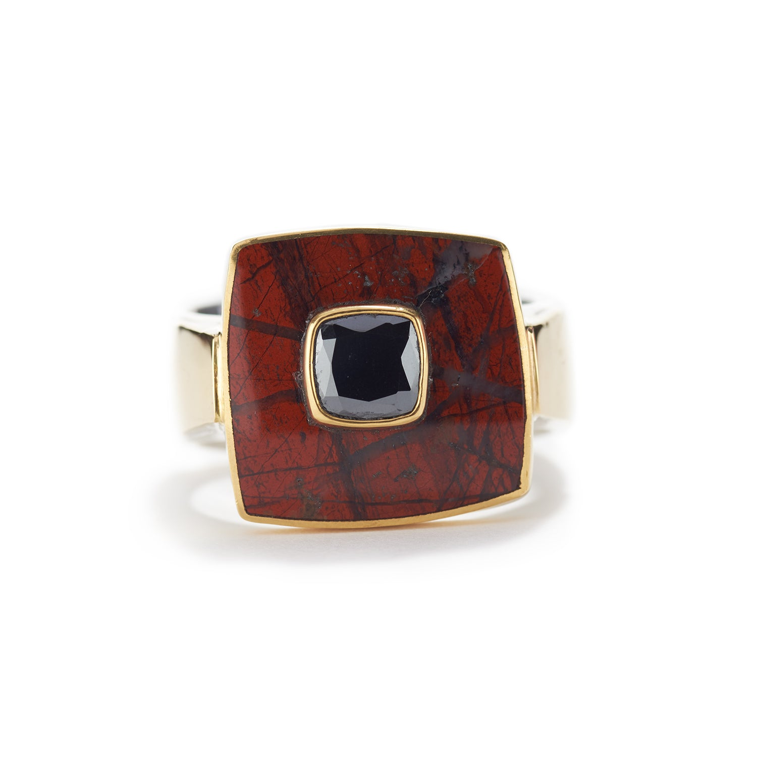 Ring in Red Jasper & Black Diamond