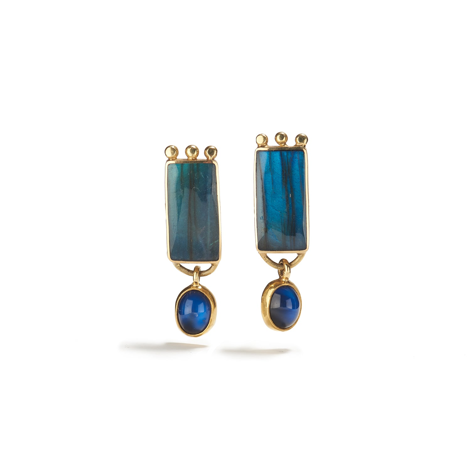 Earrings in Gold, Labradorite & Moonstone