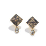 Triangle Tourmalated Quartz Earrings