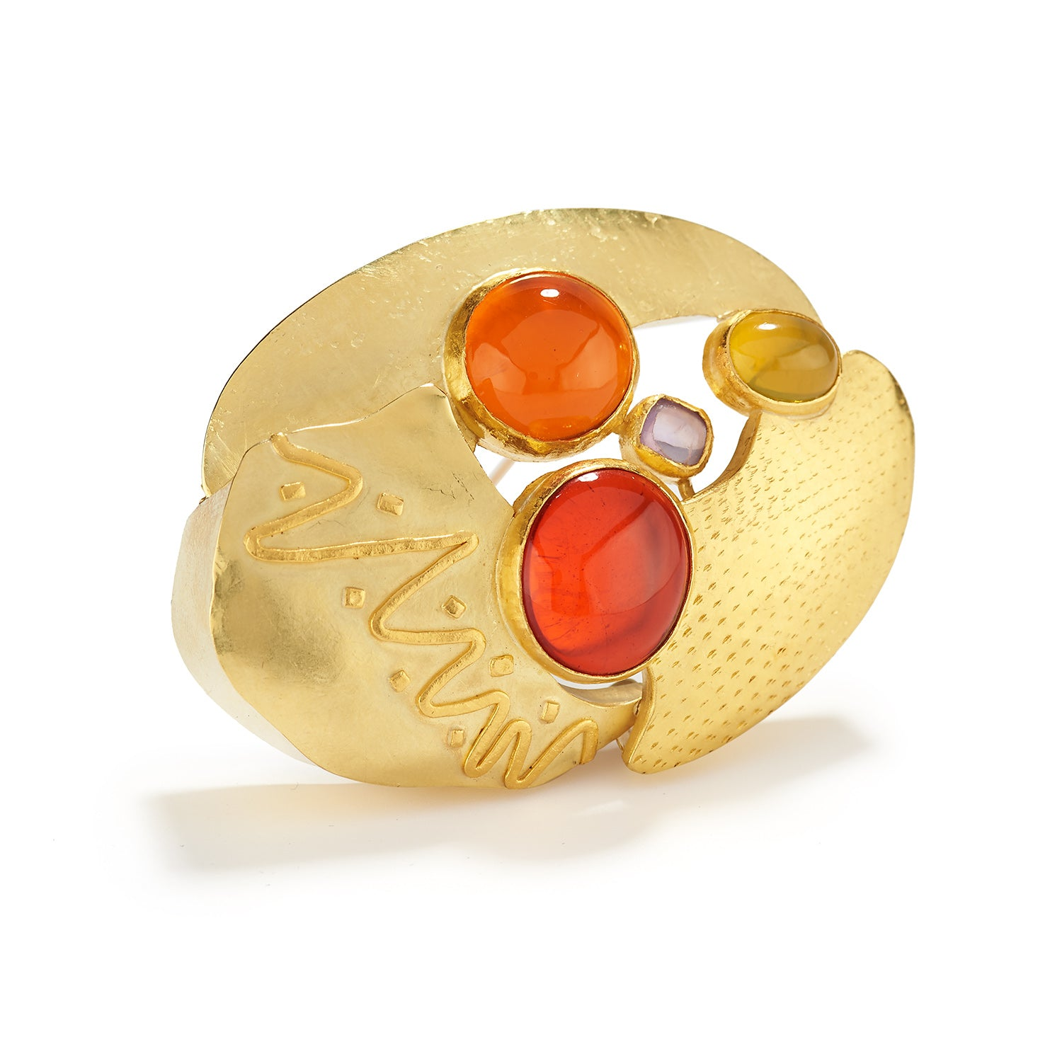 Fire Opal Brooch