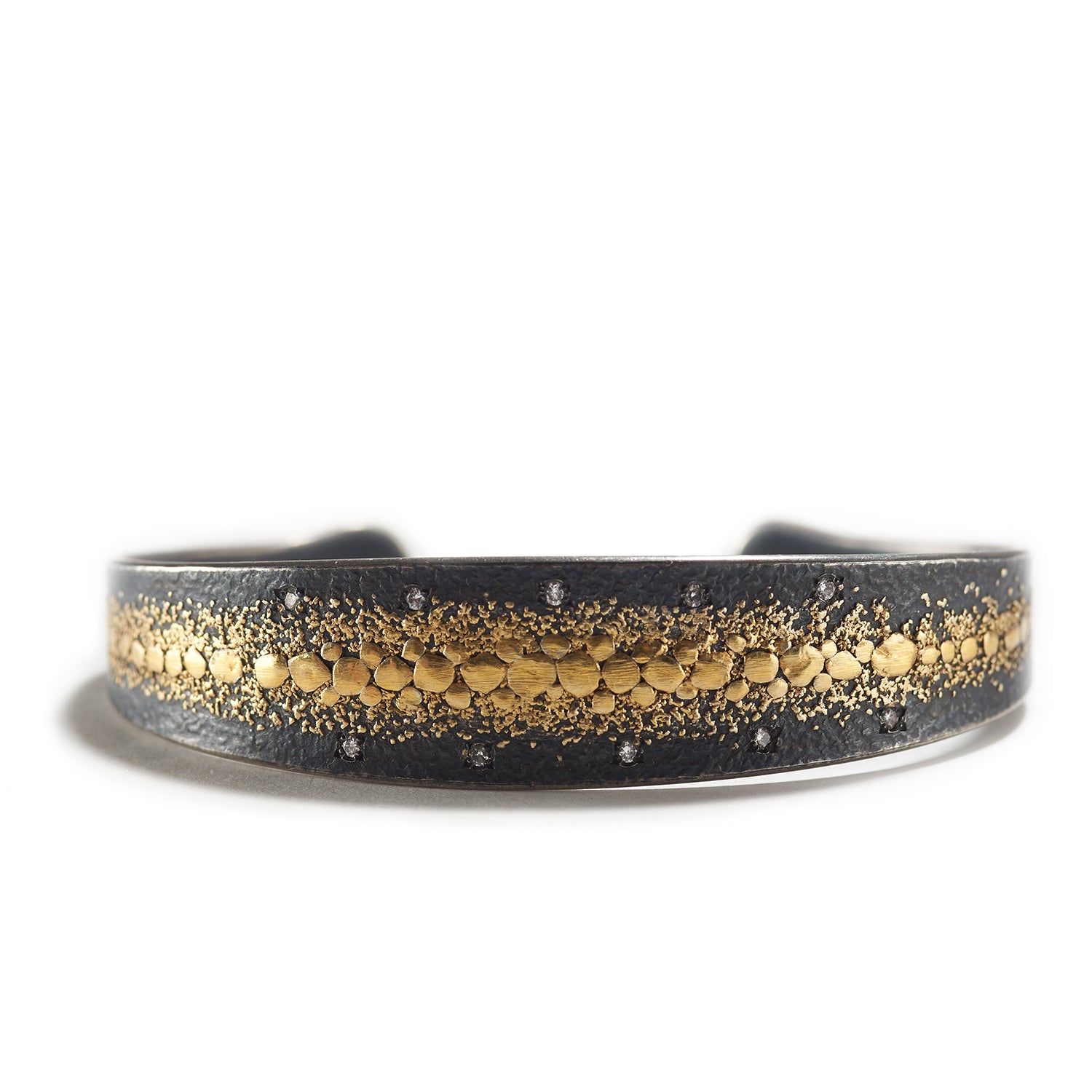 Golden Speckles on Silver Cuff Bracelet