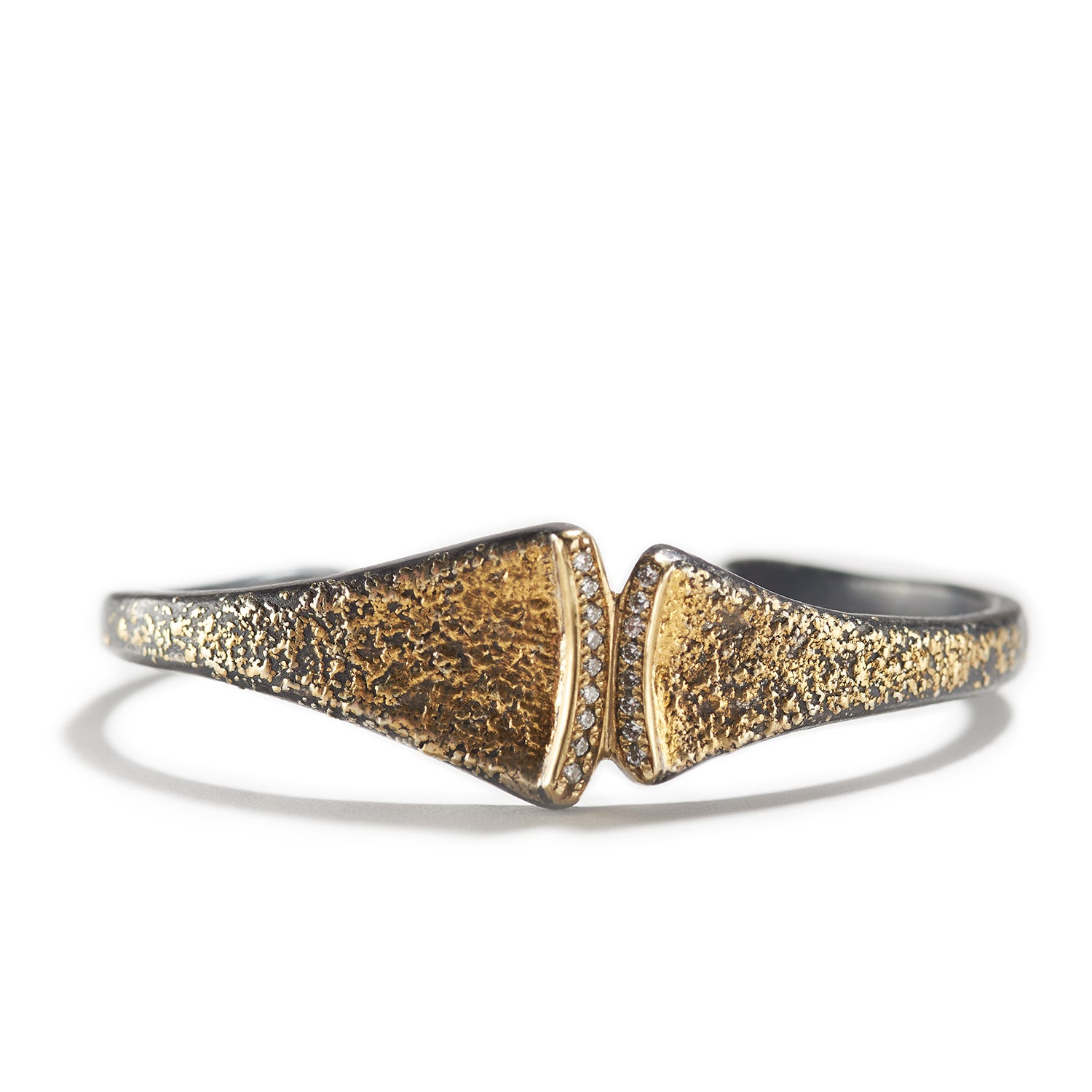 Fused Gold & Diamonds Cuff Bracelet
