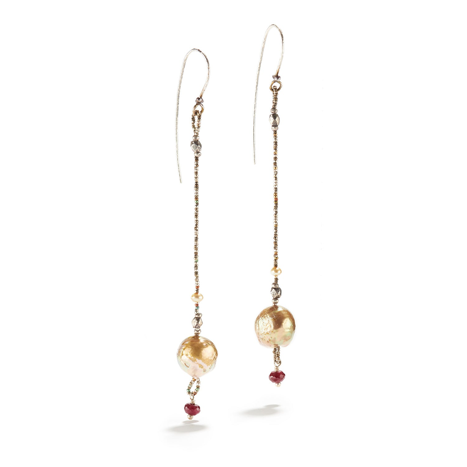 Akoya Pearl and Ruby Earrings