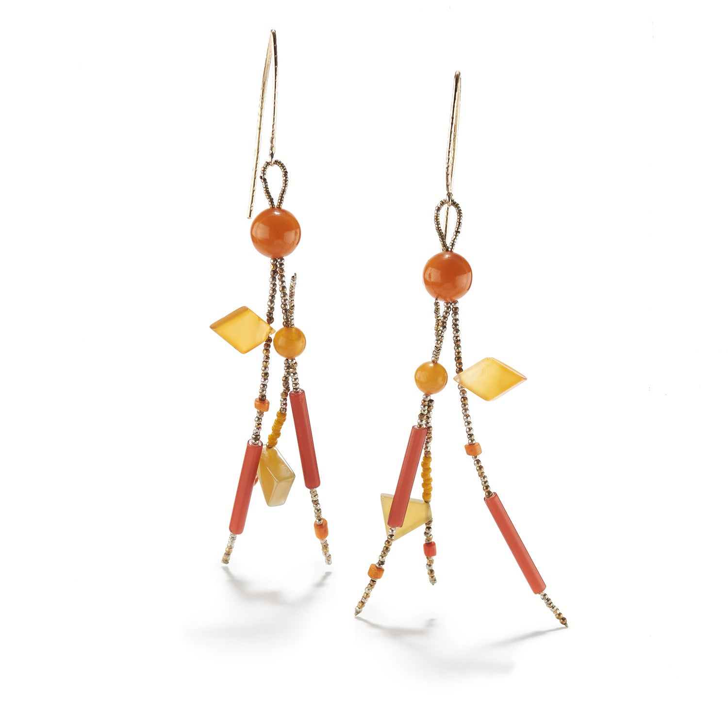 Orange Glass Tube & Chalcedony Earrings