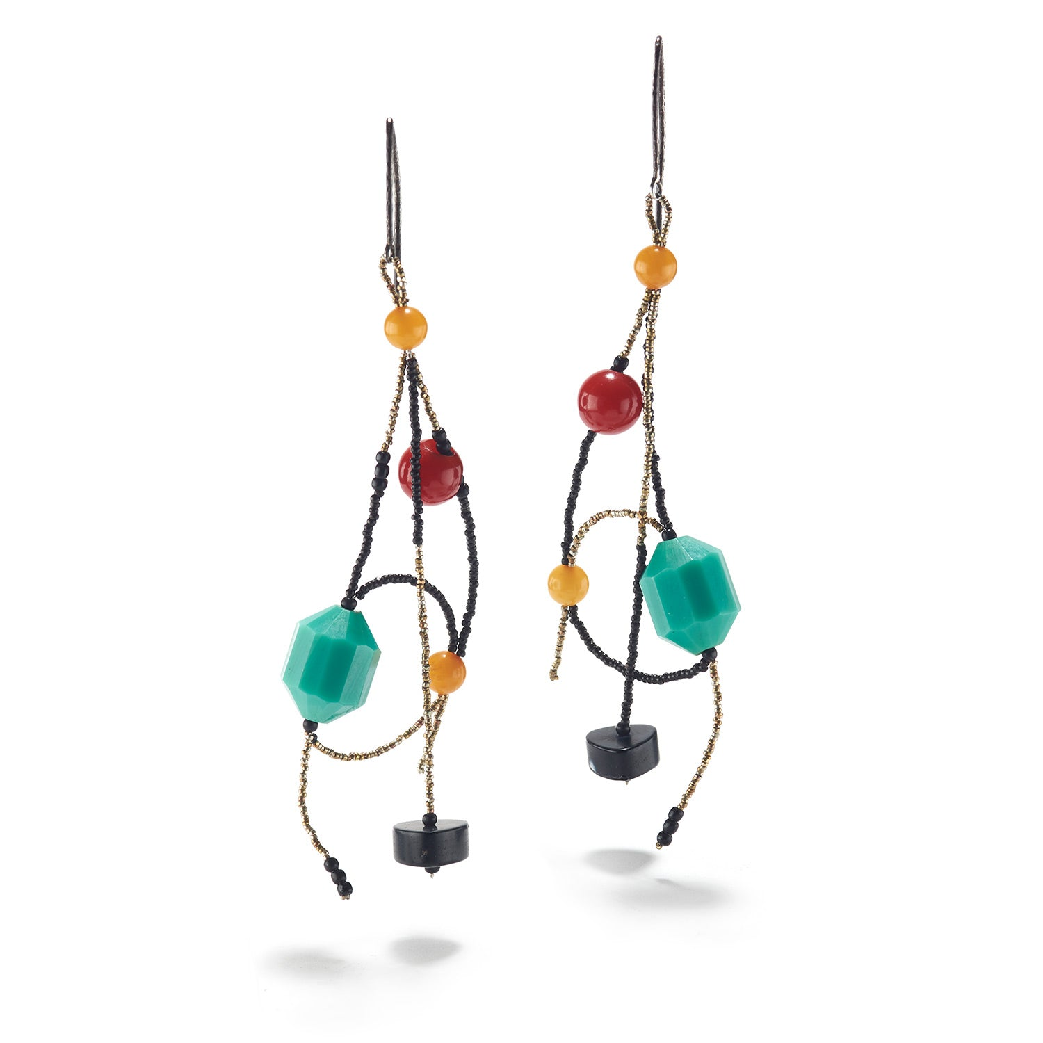 Turquoise, Red & Onyx Bakelite Earrings
