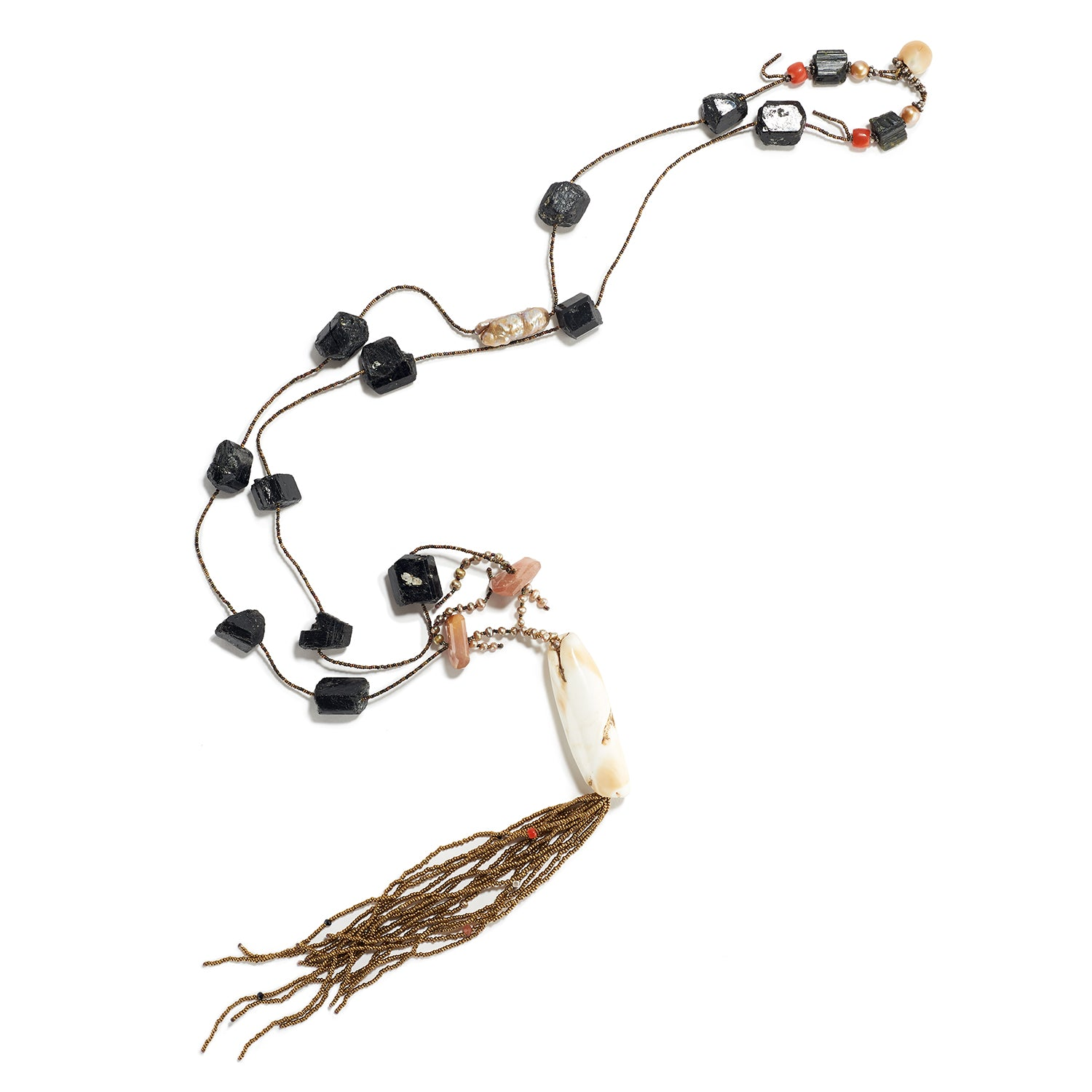 Long Strand with Antique Naga Conch Shell Beads, Black Tourmaline