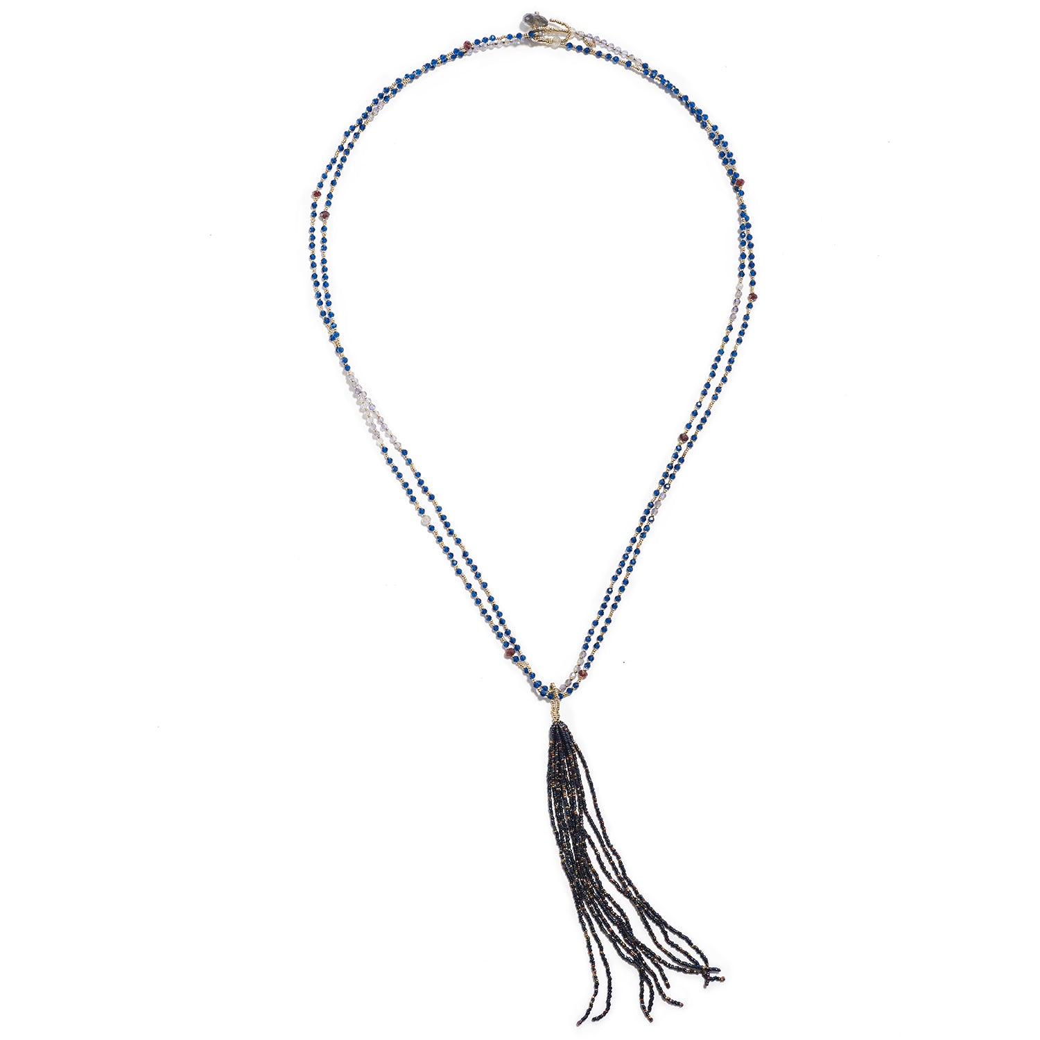 Tassel Necklace with Blue Quartz, Garnet & Labradorite