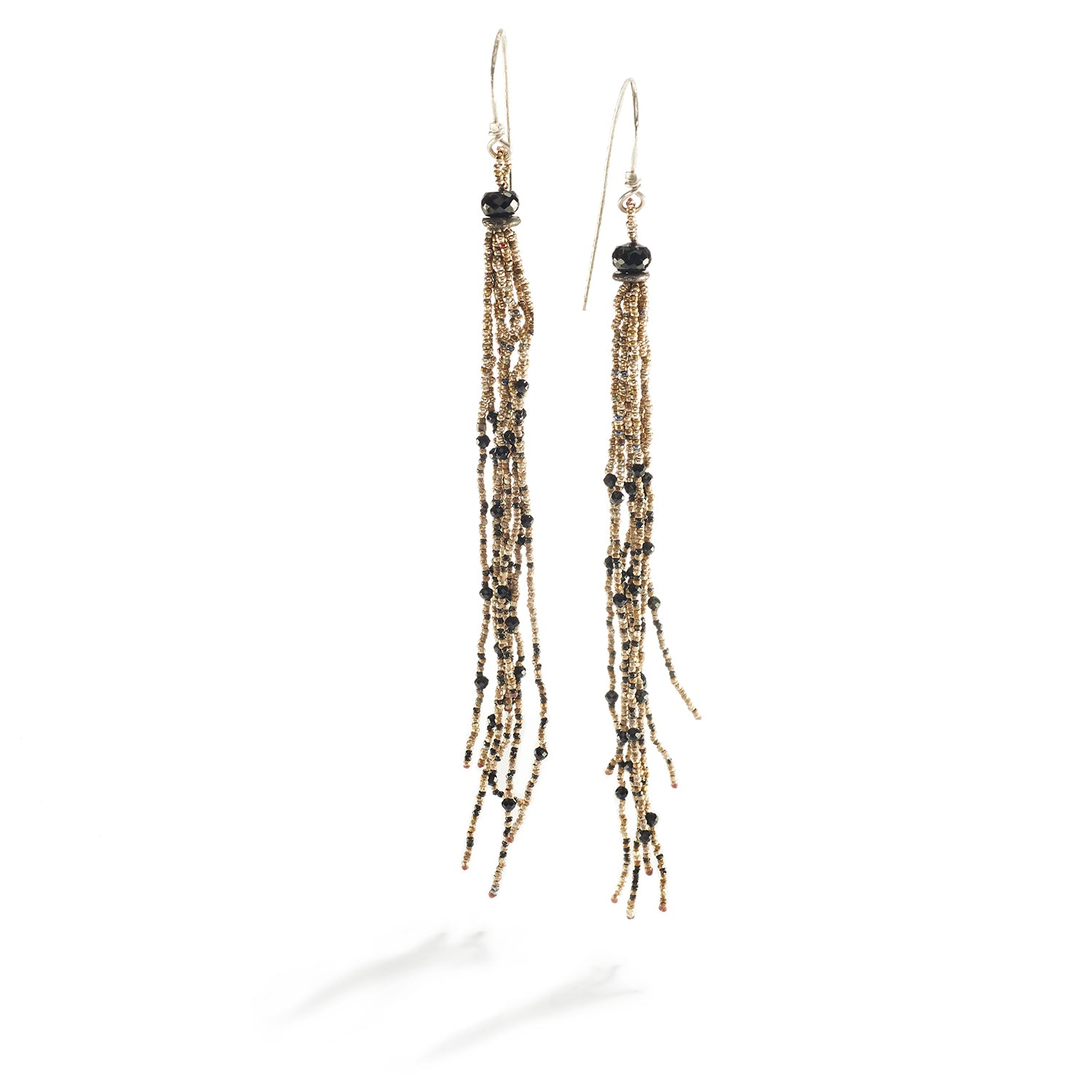 Tassel Earrings with Black Spinel