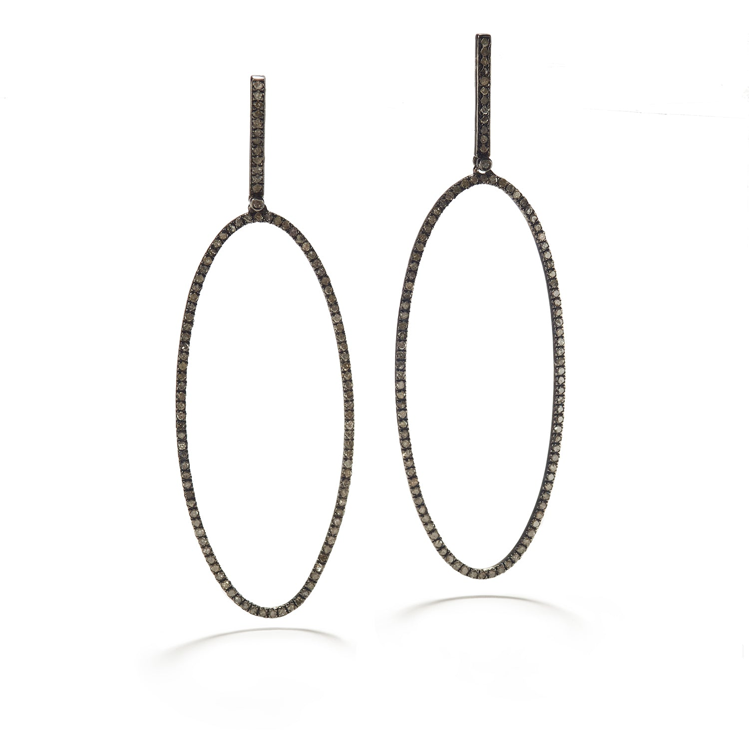 Large Oval Earrings with Diamond & Silver