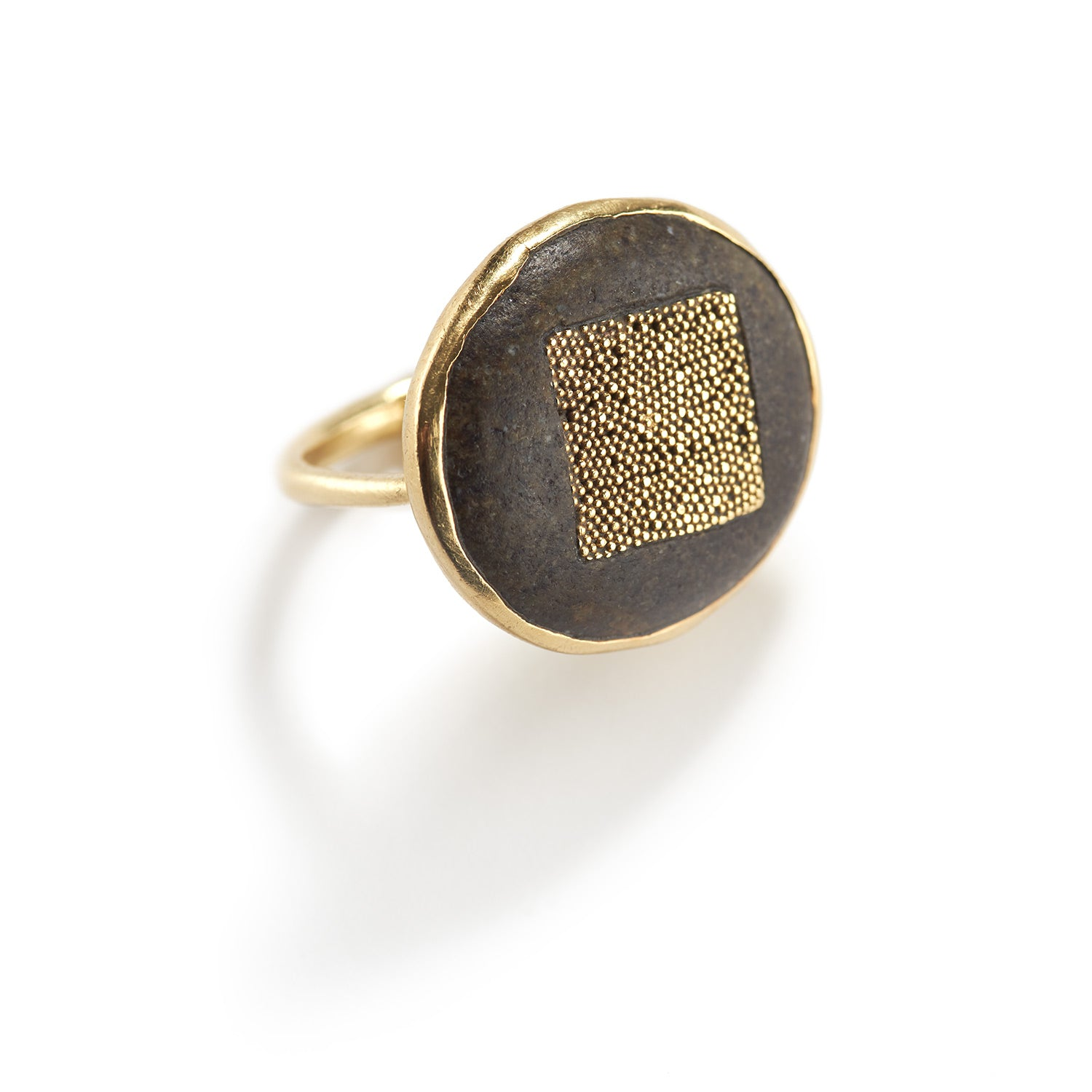 Granulated Gold and River Stone Ring
