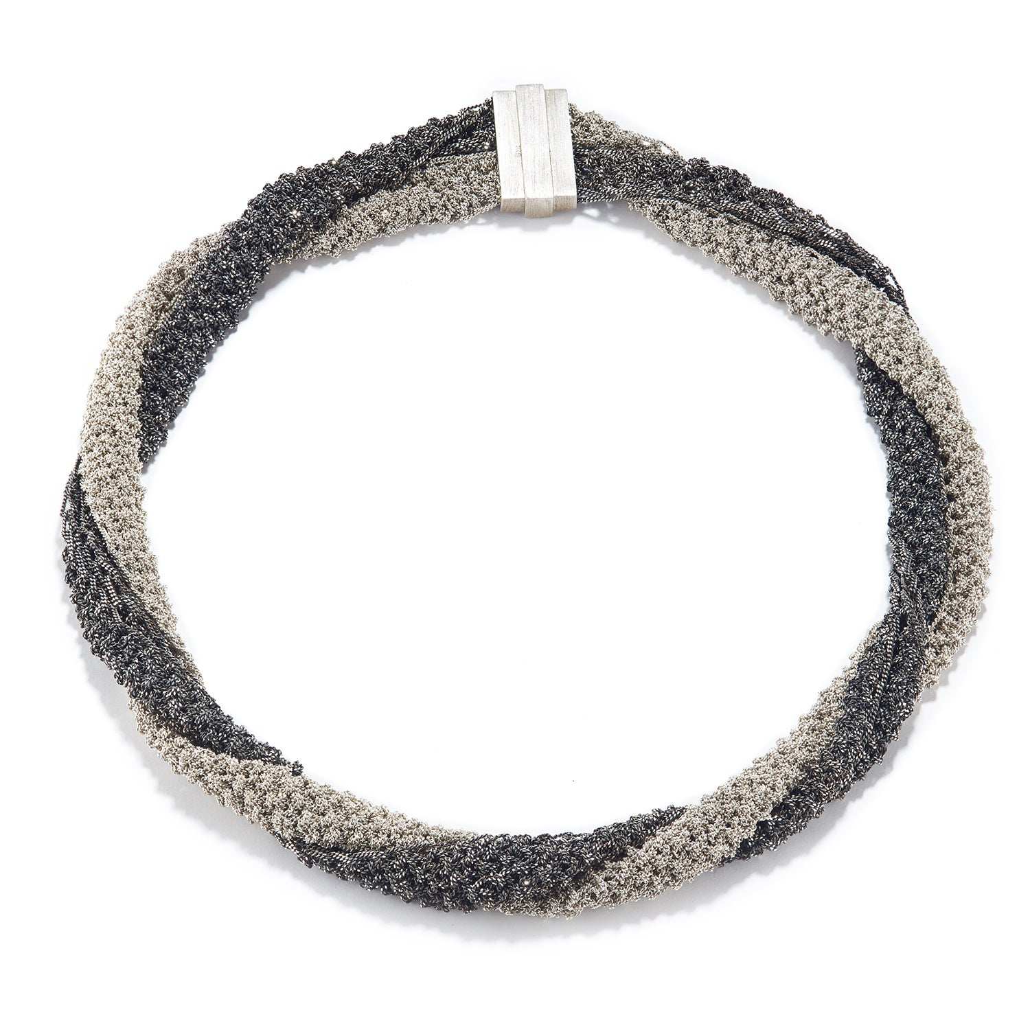Knitted Bi-Color Silver Necklace
