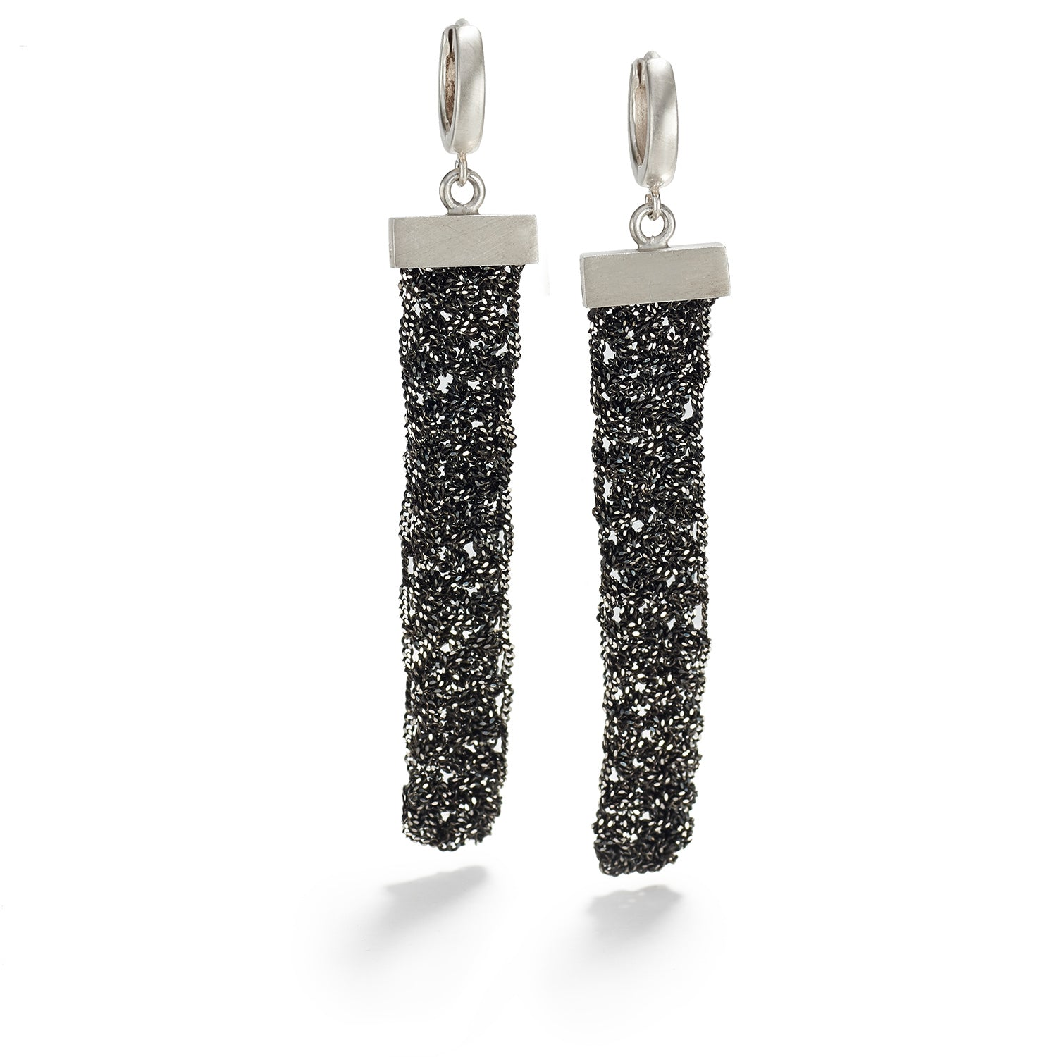 Knitted Oxidized Silver Earrings