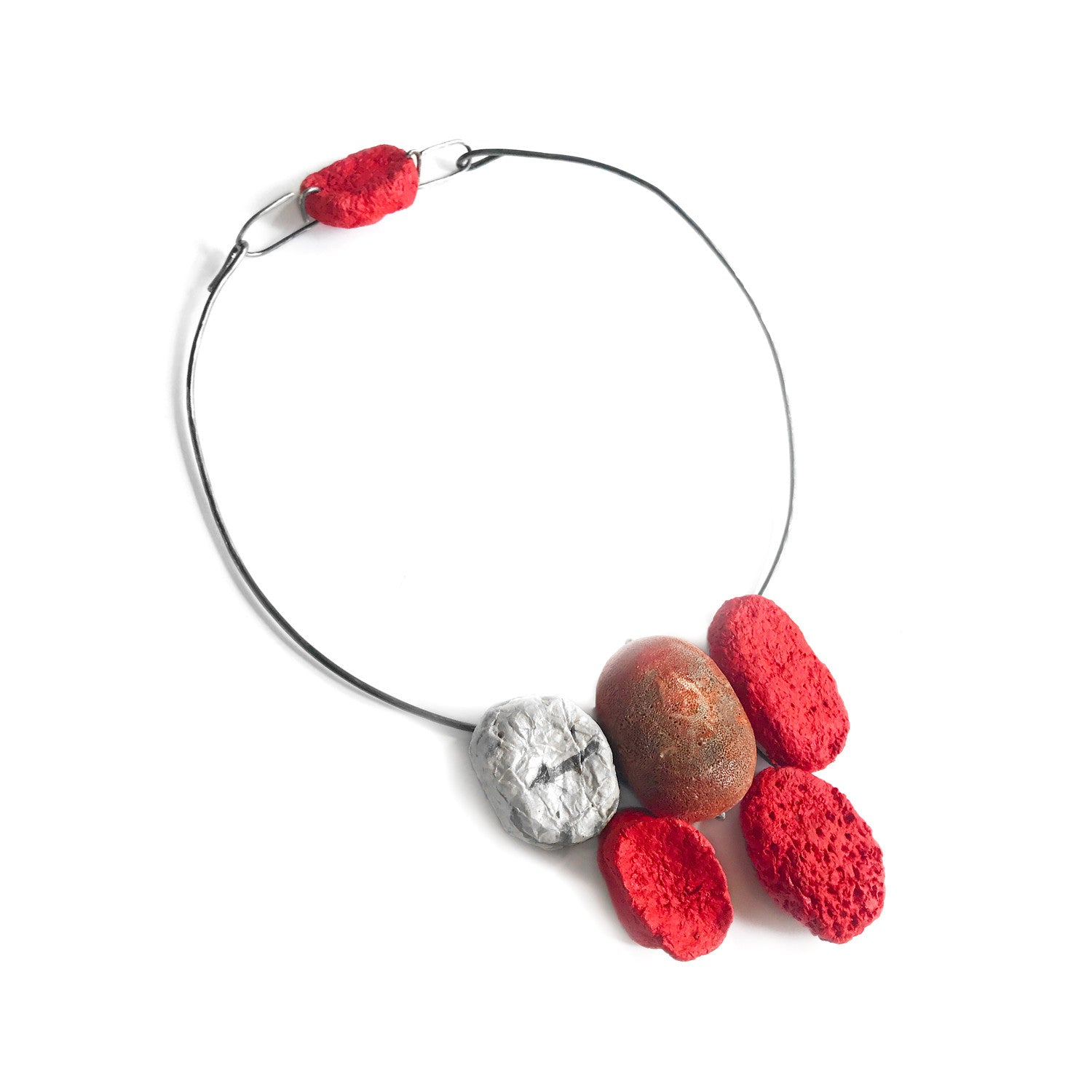 Red Coral with Paper Beads