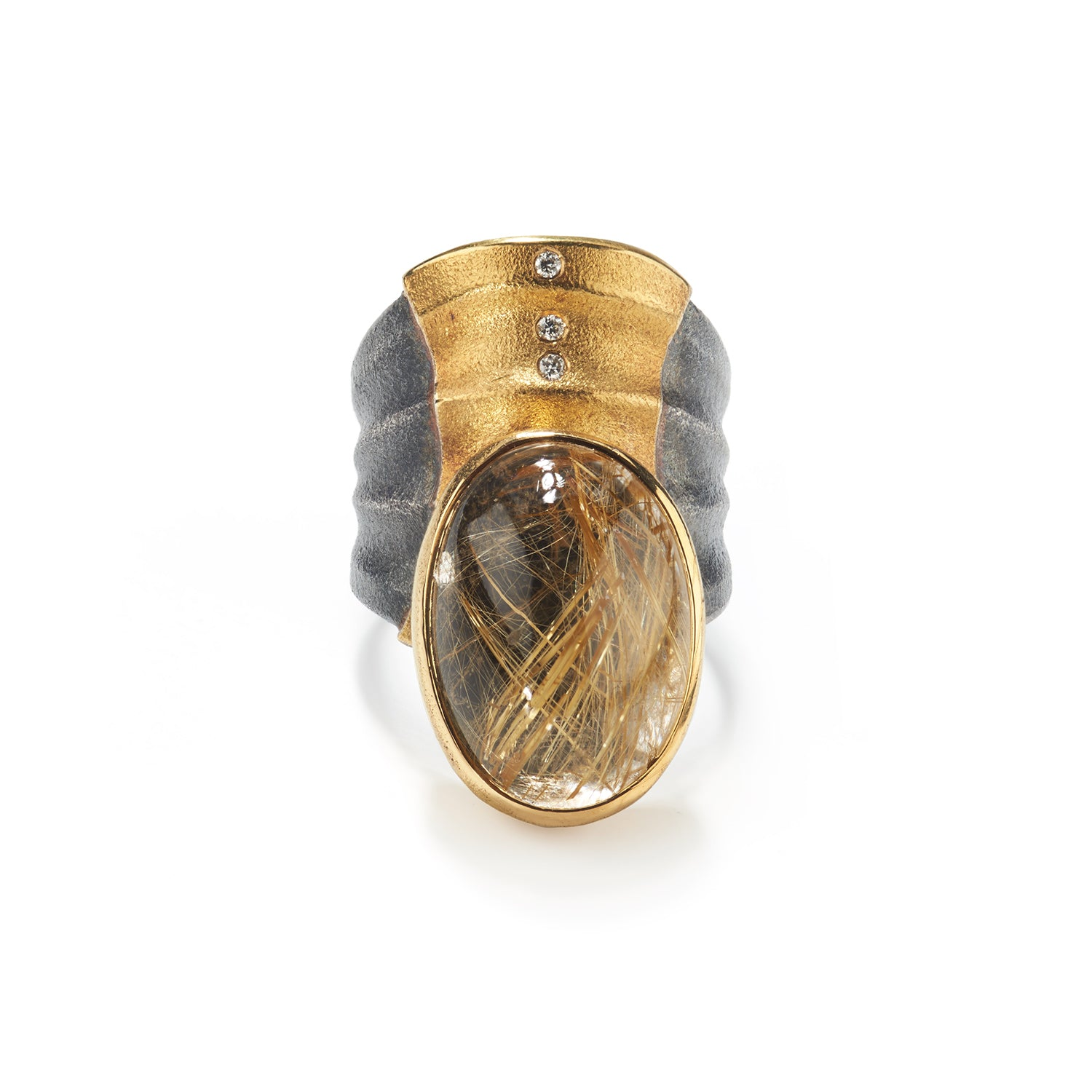 Rutilated Quartz Ripple Ring