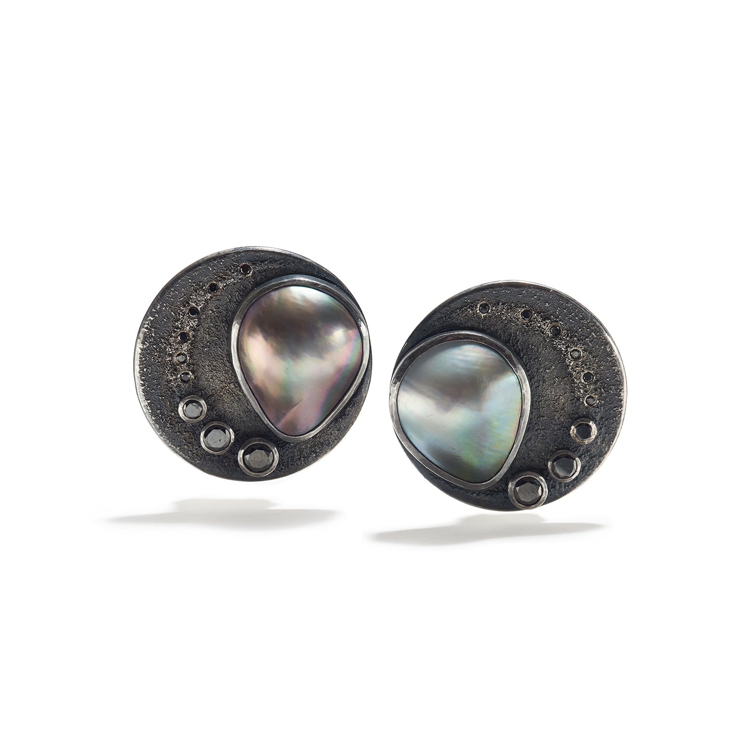 Tahitian Mabé Pearl Earrings with Black Diamond