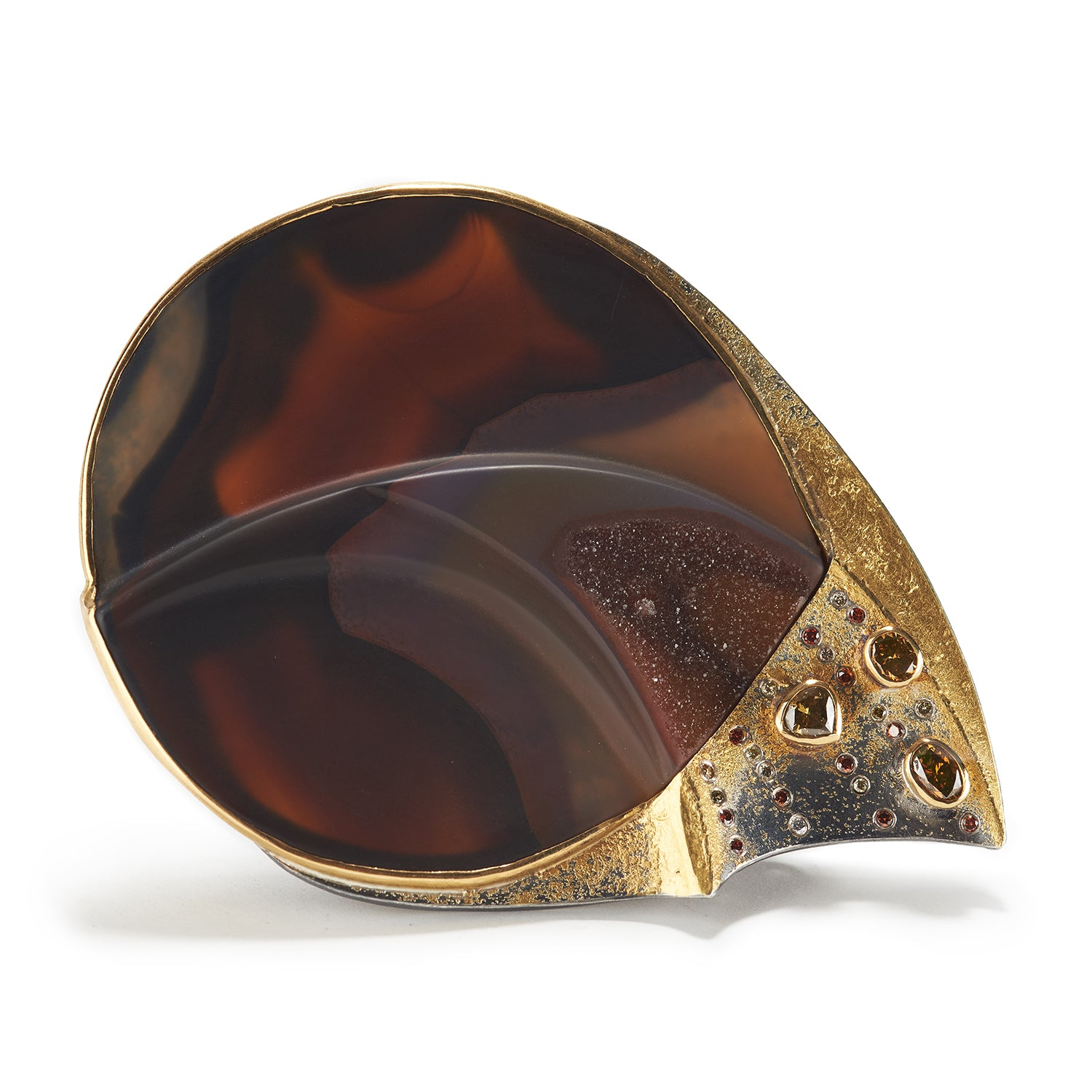 Agate & Brown Diamond Brooch