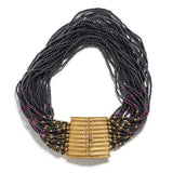 Hematite & Ruby Beaded Necklace with Gold & Diamond Clasp