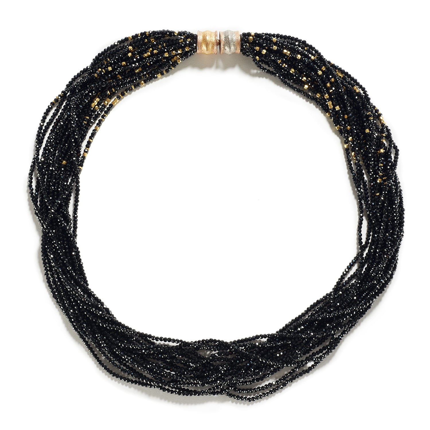 Multi Strand Black Spinel & Nepalese Fine Gold Beaded Necklace