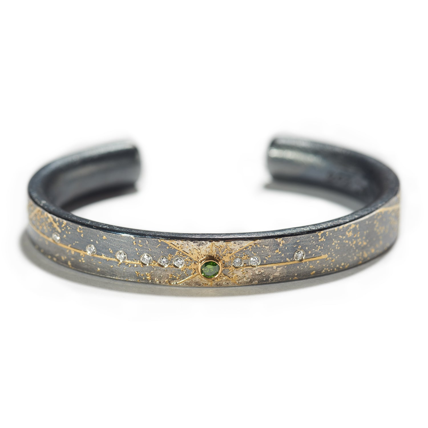 Green Diamond Cuff Bracelet