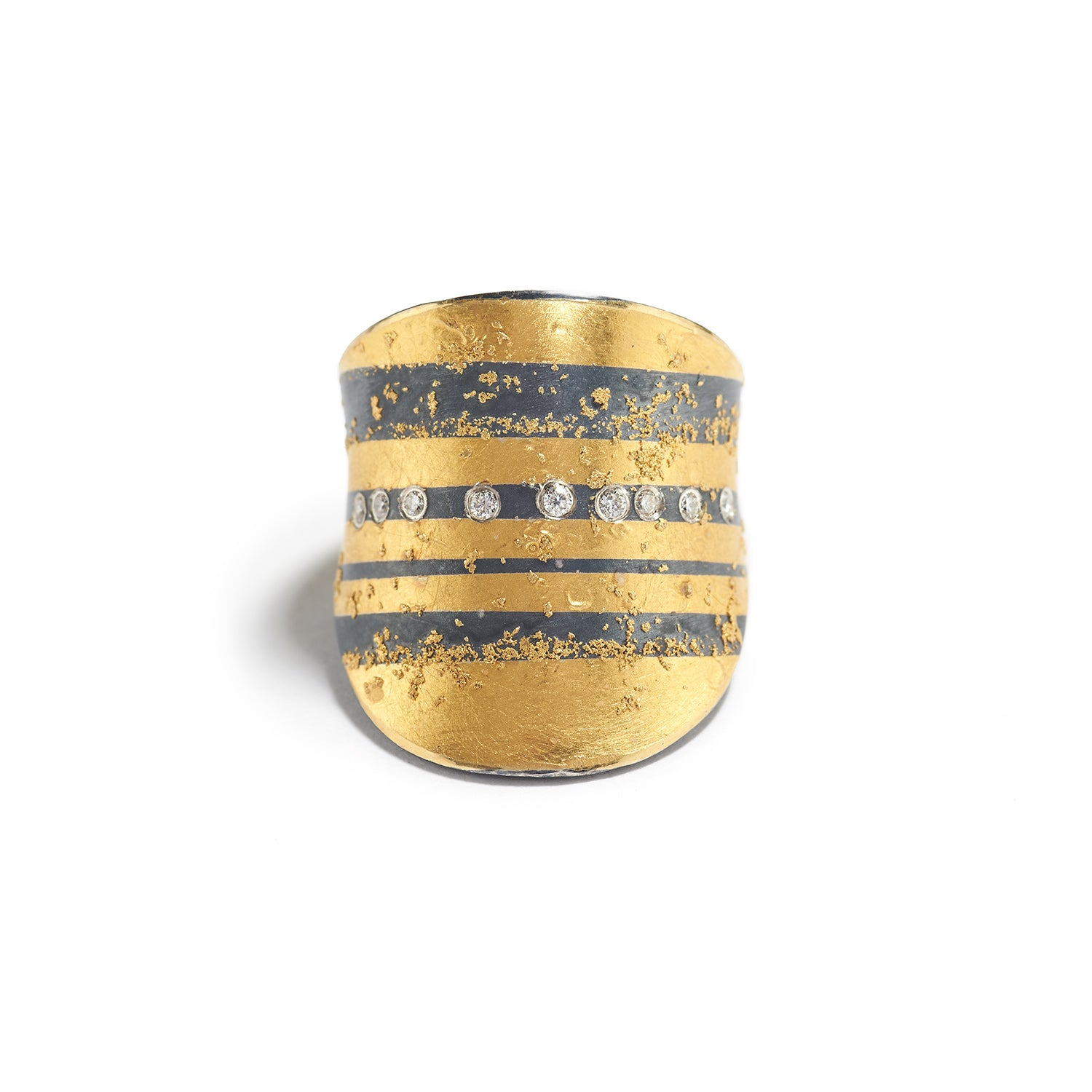 Silver & Gold Striped Ring