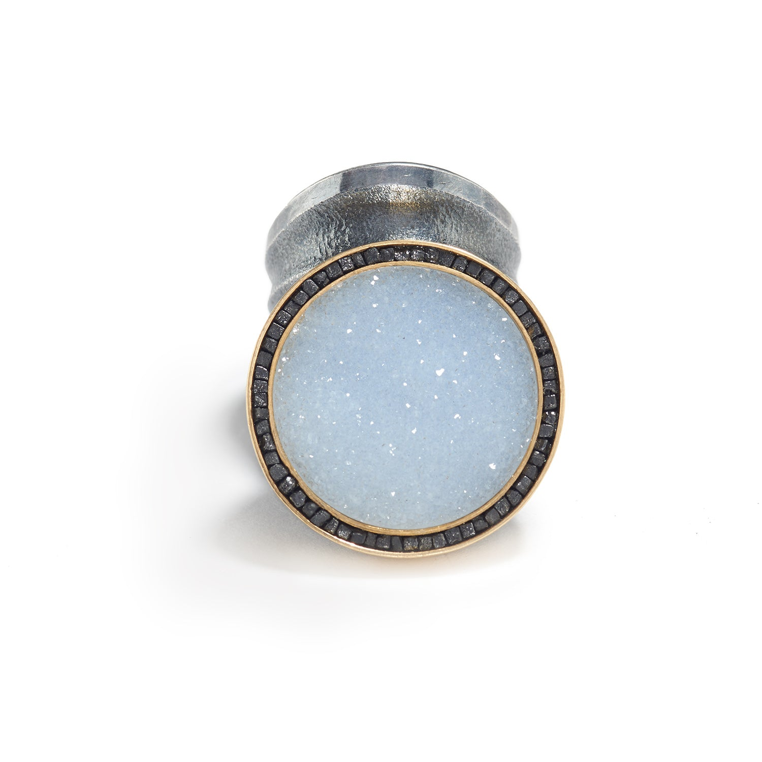 Drusy Chalcedony and Diamond Ring