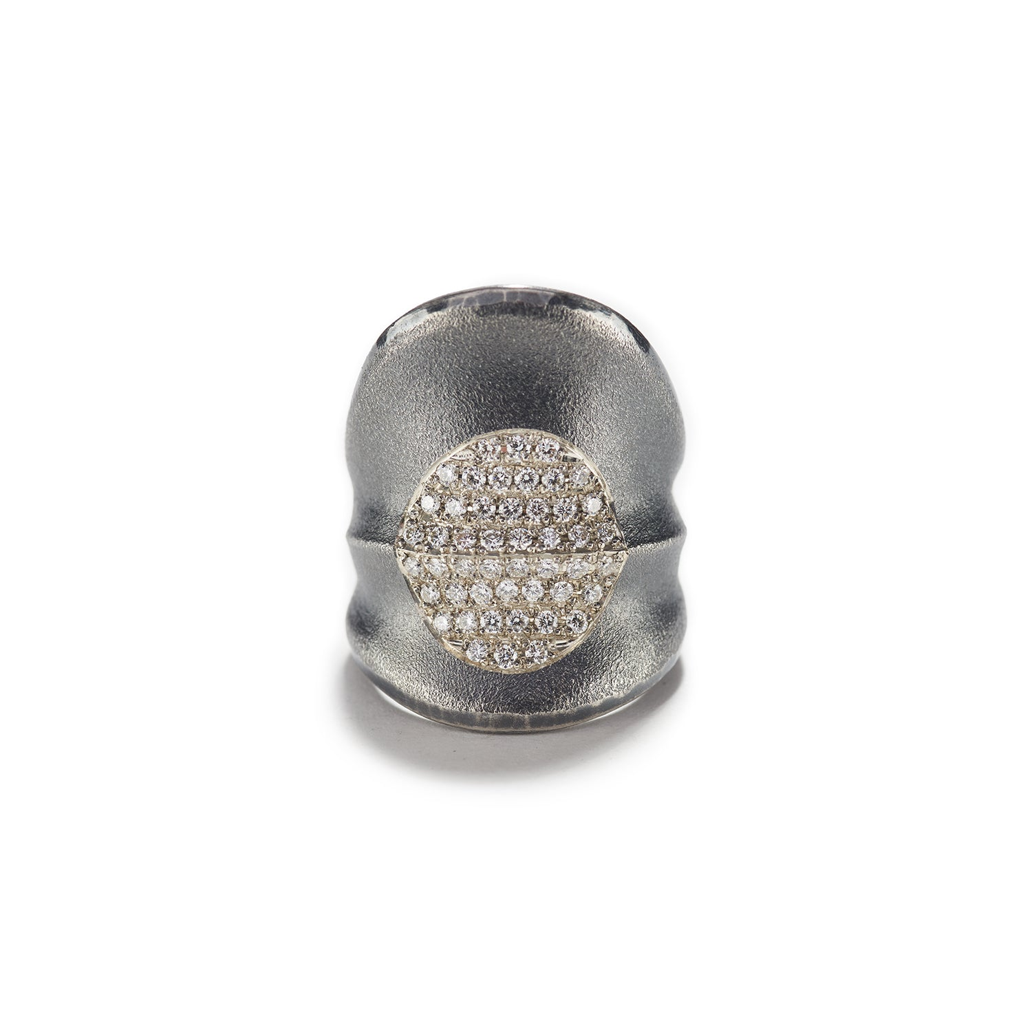 Plate of Diamonds Silver Ring