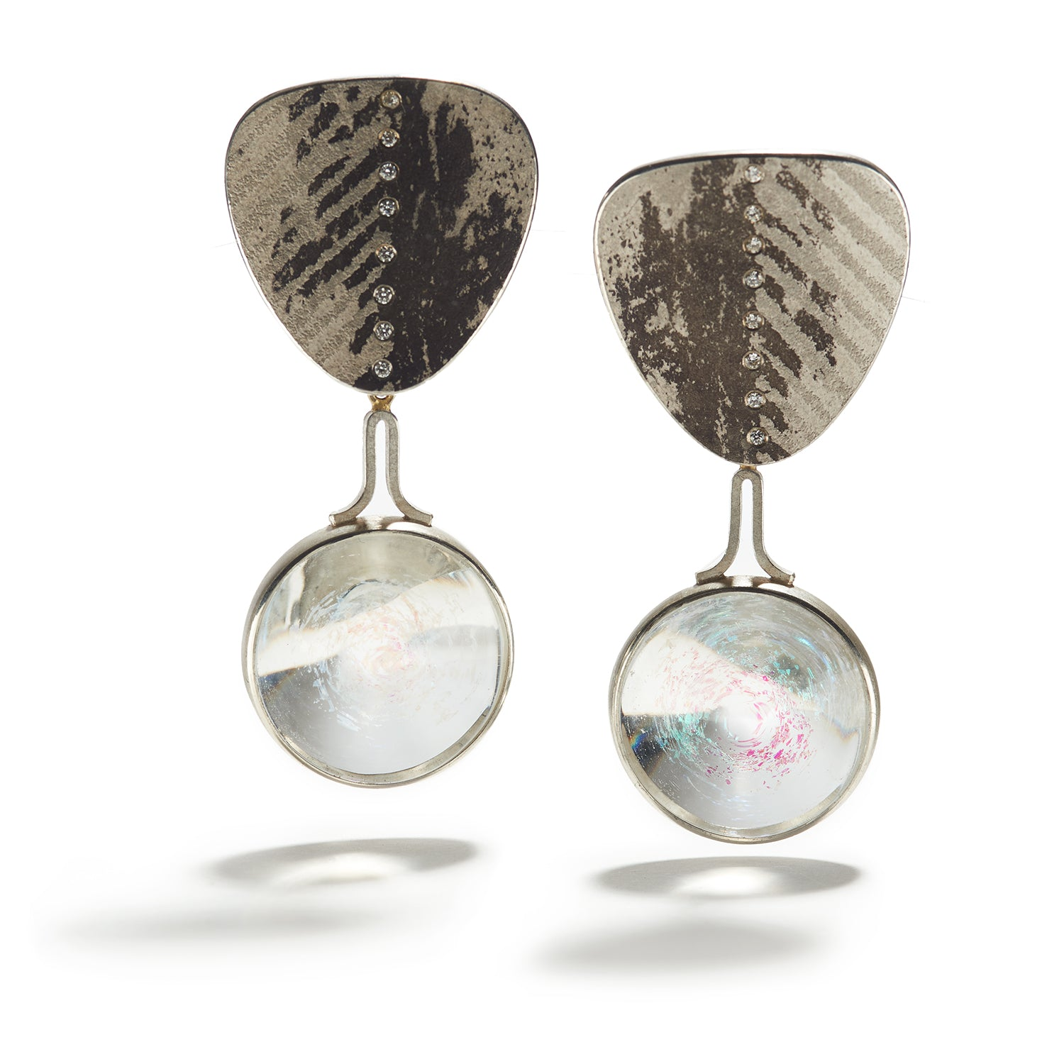 Glass Bead Earrings with Silver, Gold & Palladium