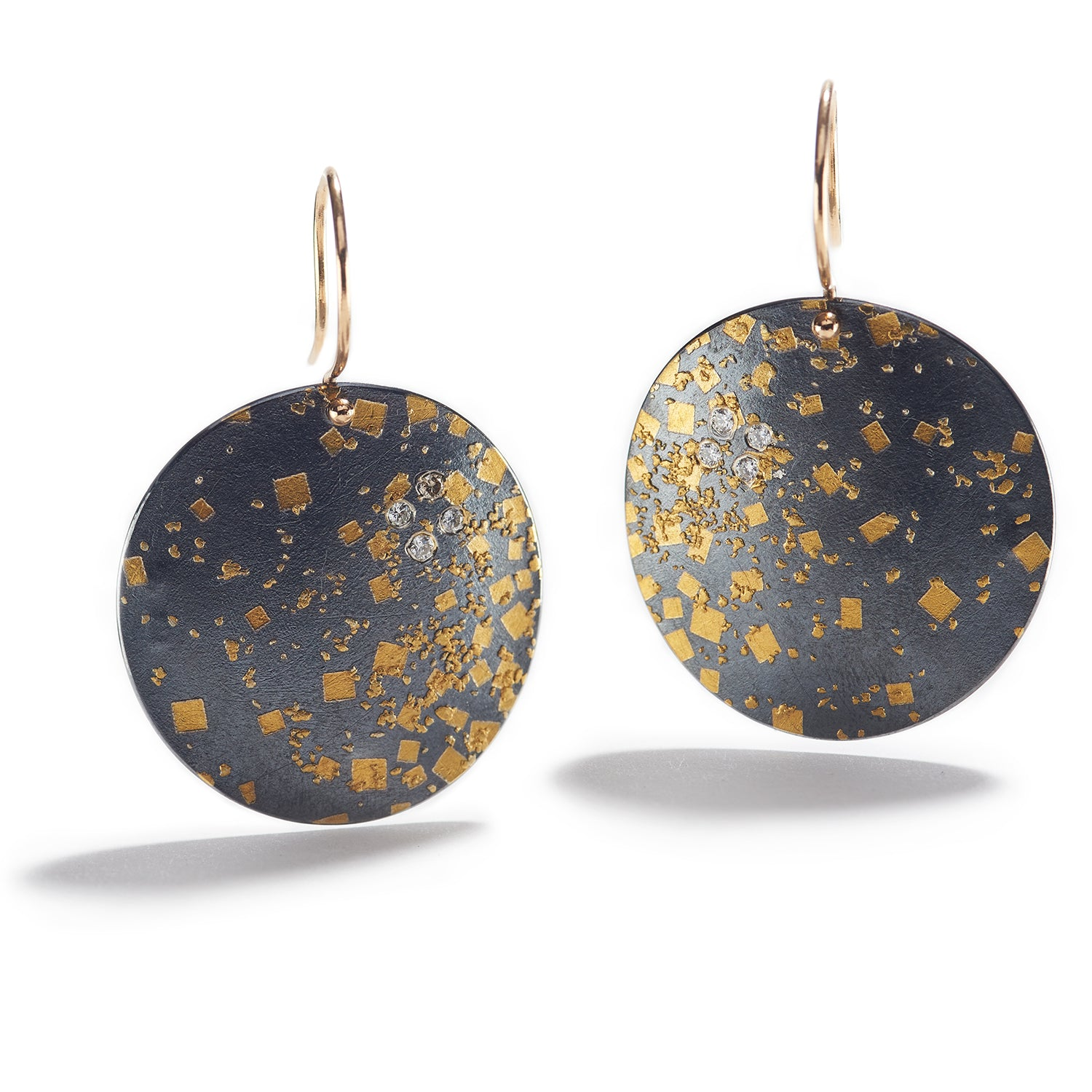 Undulating Silver & Gold Disk Earrings
