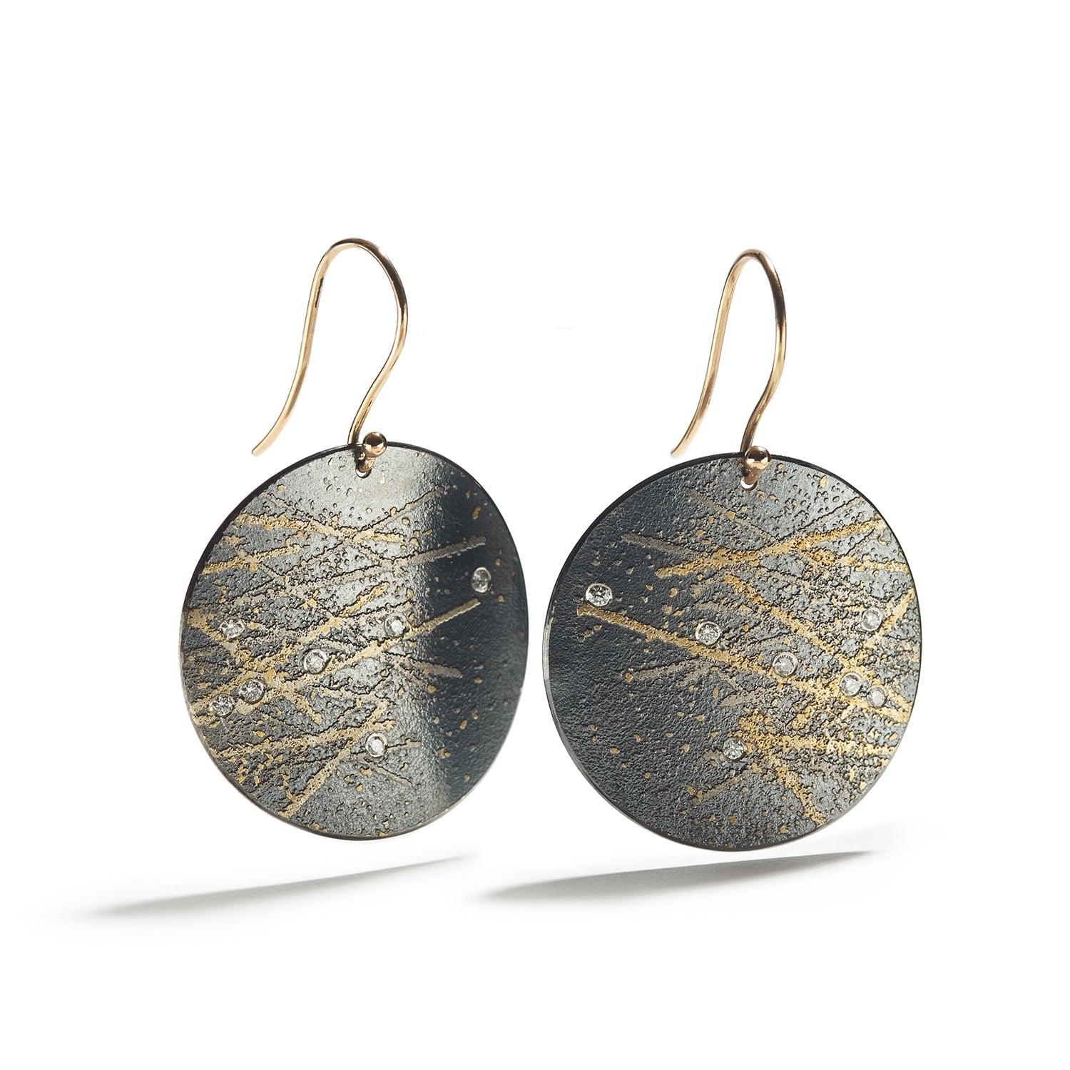 Undulating Silver & Gold Disk Earrings with Platinum