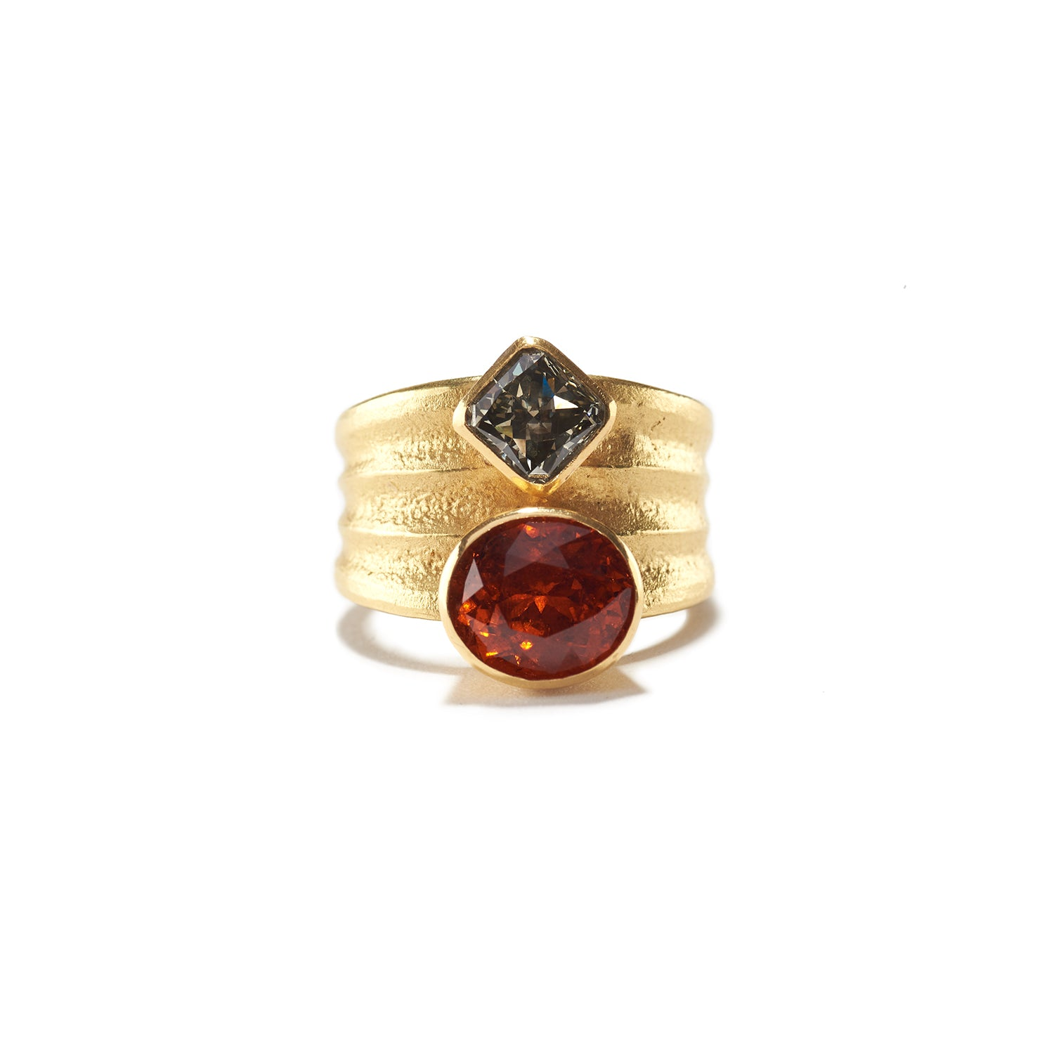 Garnet & Diamond Ripple Ring