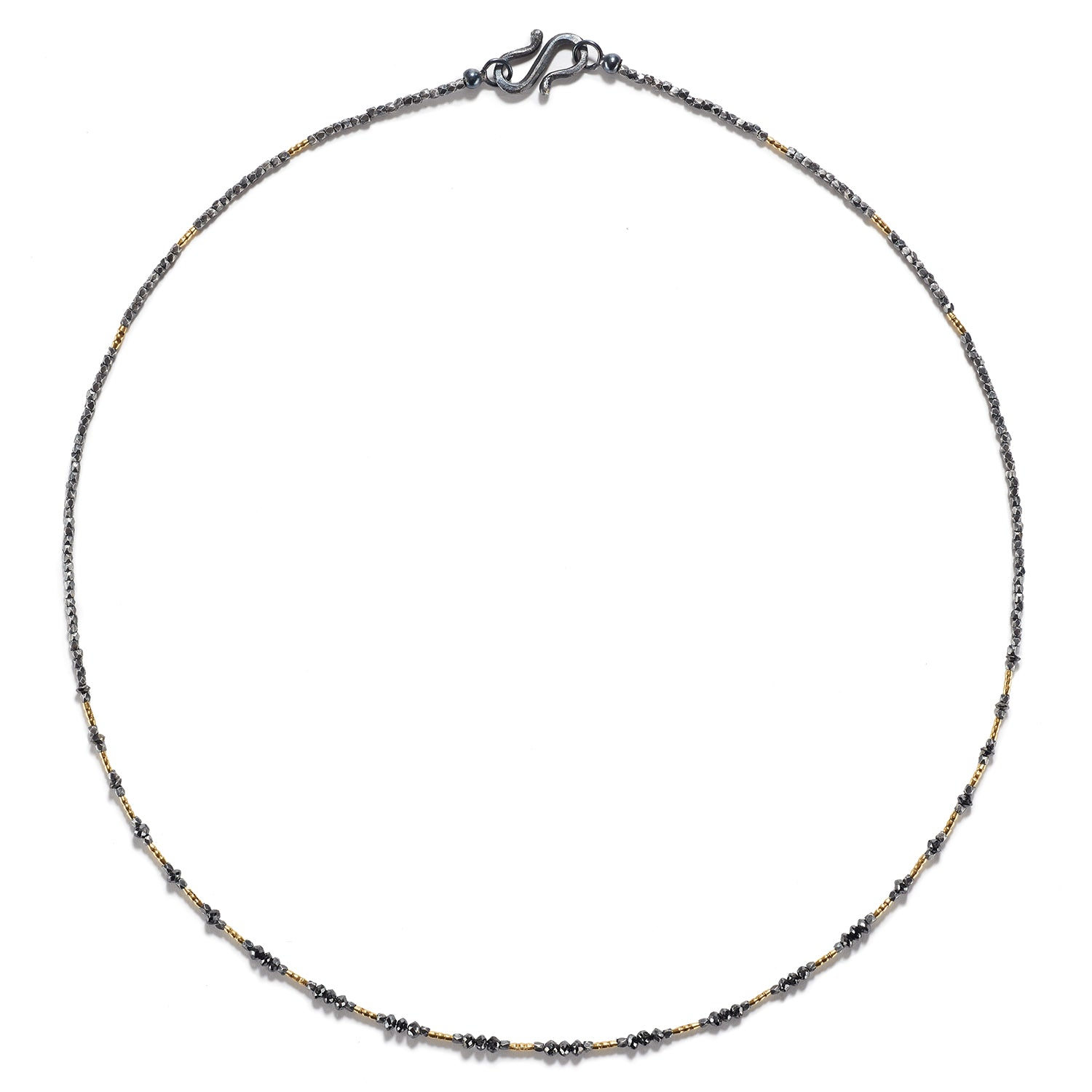 Burma Gold, Black Diamonds & Silver Necklace